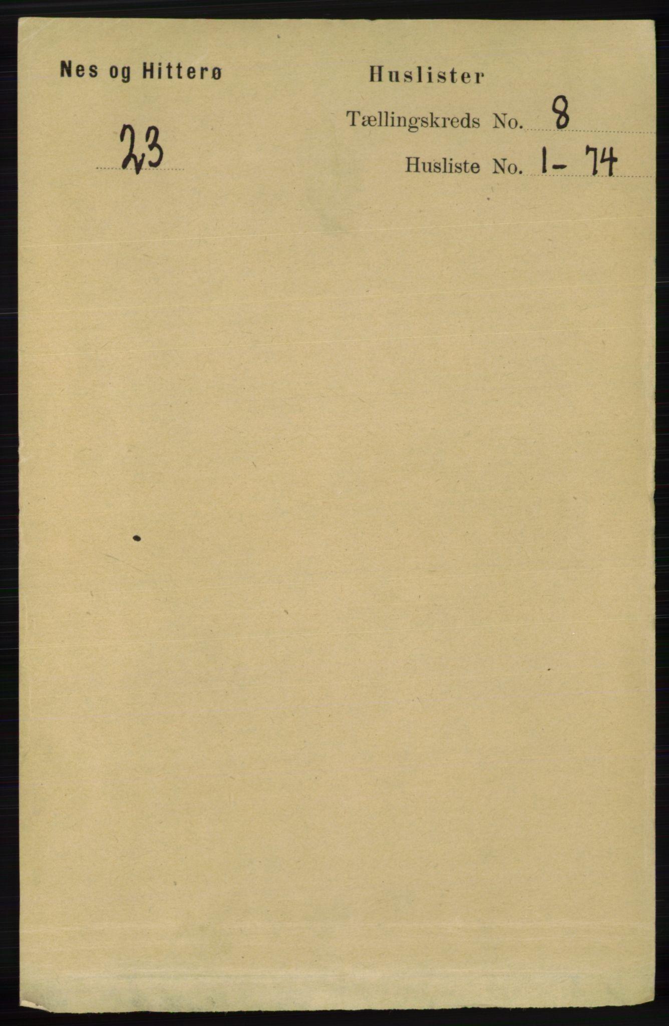 RA, Folketelling 1891 for 1043 Hidra og Nes herred, 1891, s. 3233