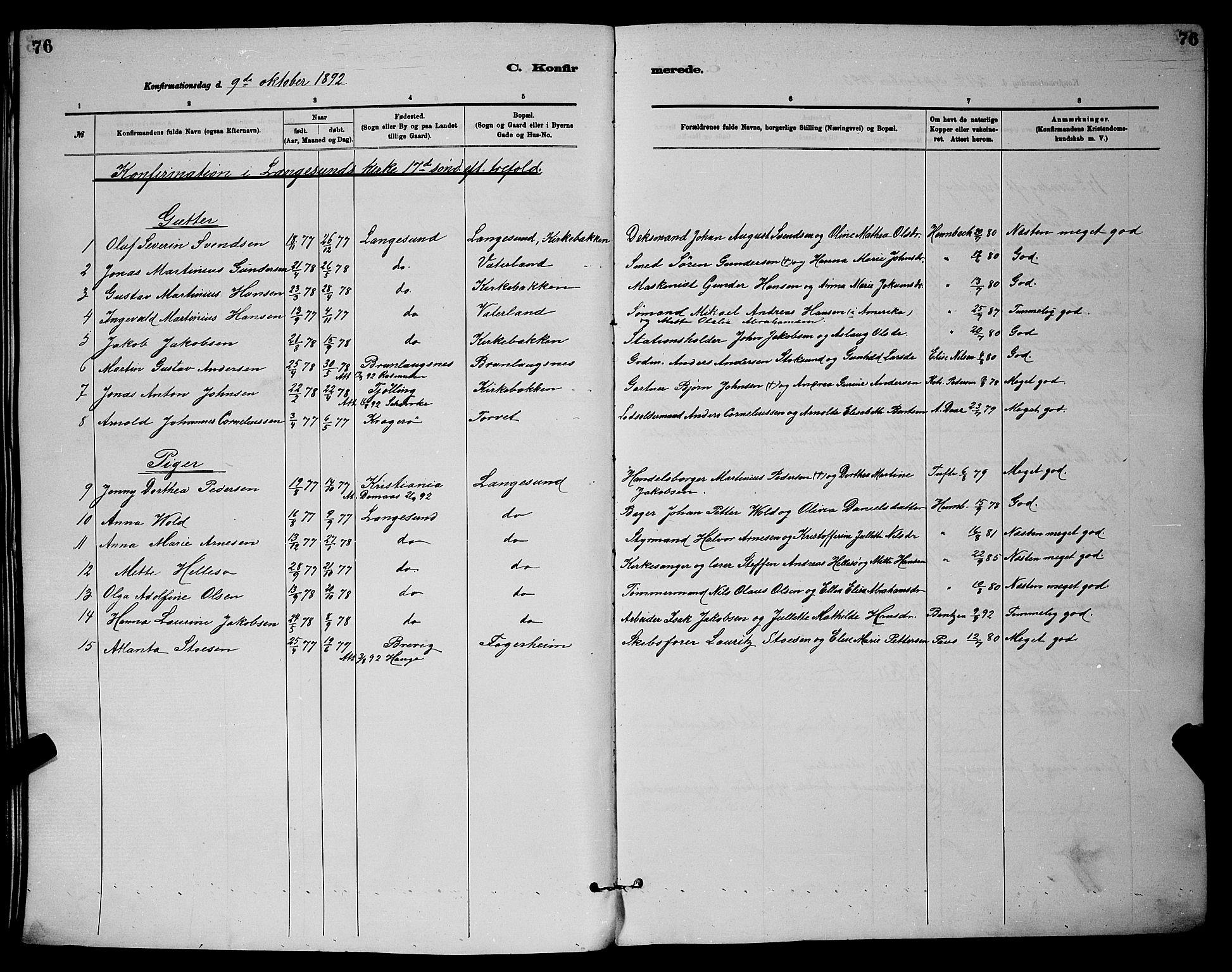 SAKO, Langesund kirkebøker, G/Ga/L0005: Klokkerbok nr. 5, 1884-1898, s. 76