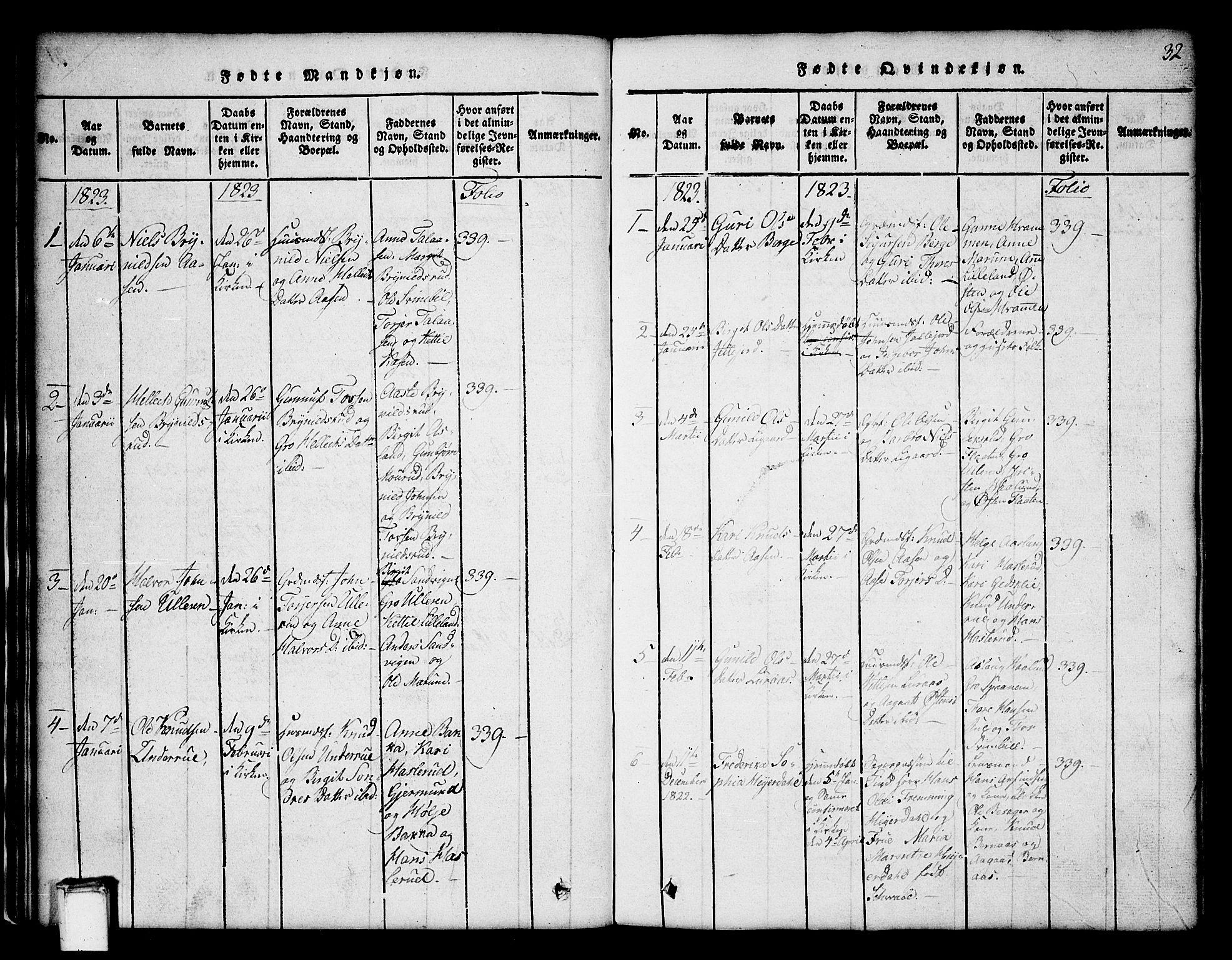 SAKO, Tinn kirkebøker, G/Ga/L0001: Klokkerbok nr. I 1, 1815-1850, s. 32