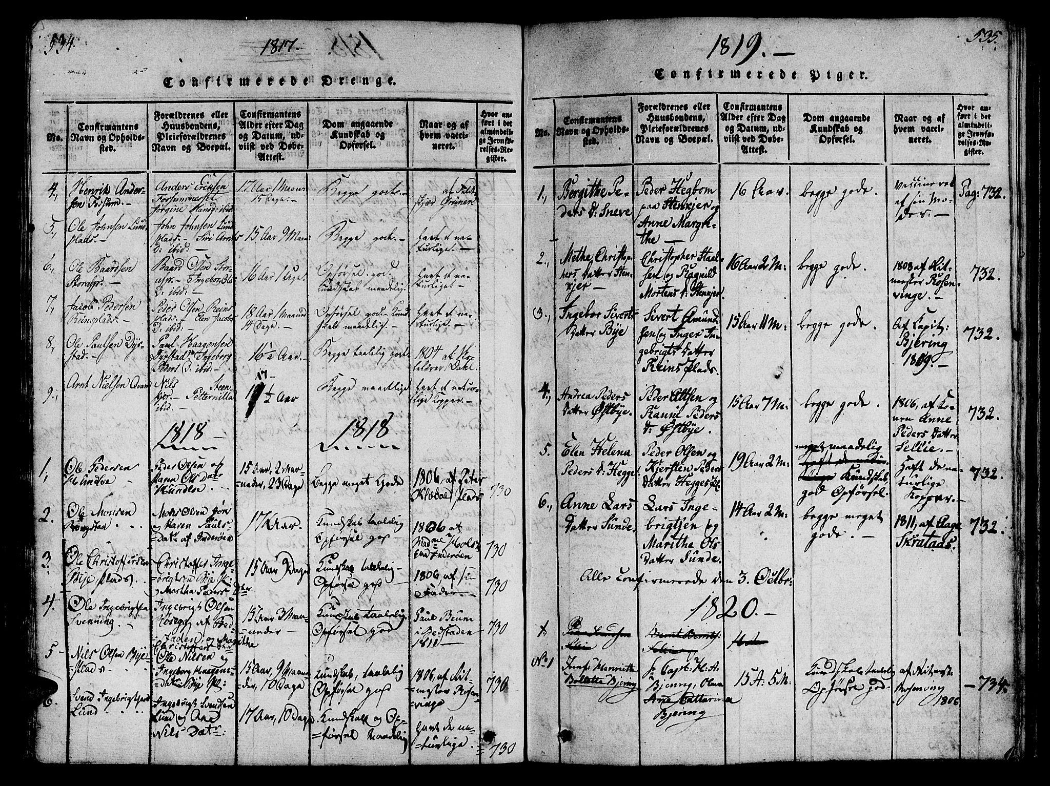 SAT, Ministerialprotokoller, klokkerbøker og fødselsregistre - Nord-Trøndelag, 746/L0441: Ministerialbok nr. 736A03 /3, 1816-1827, s. 534-535