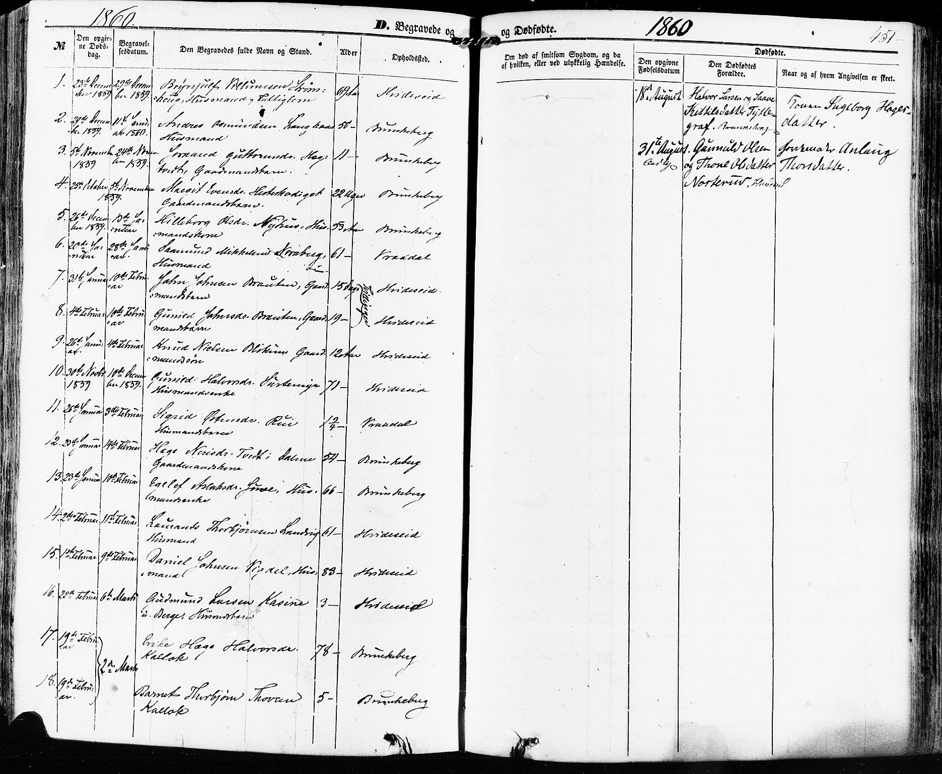SAKO, Kviteseid kirkebøker, F/Fa/L0007: Ministerialbok nr. I 7, 1859-1881, s. 451