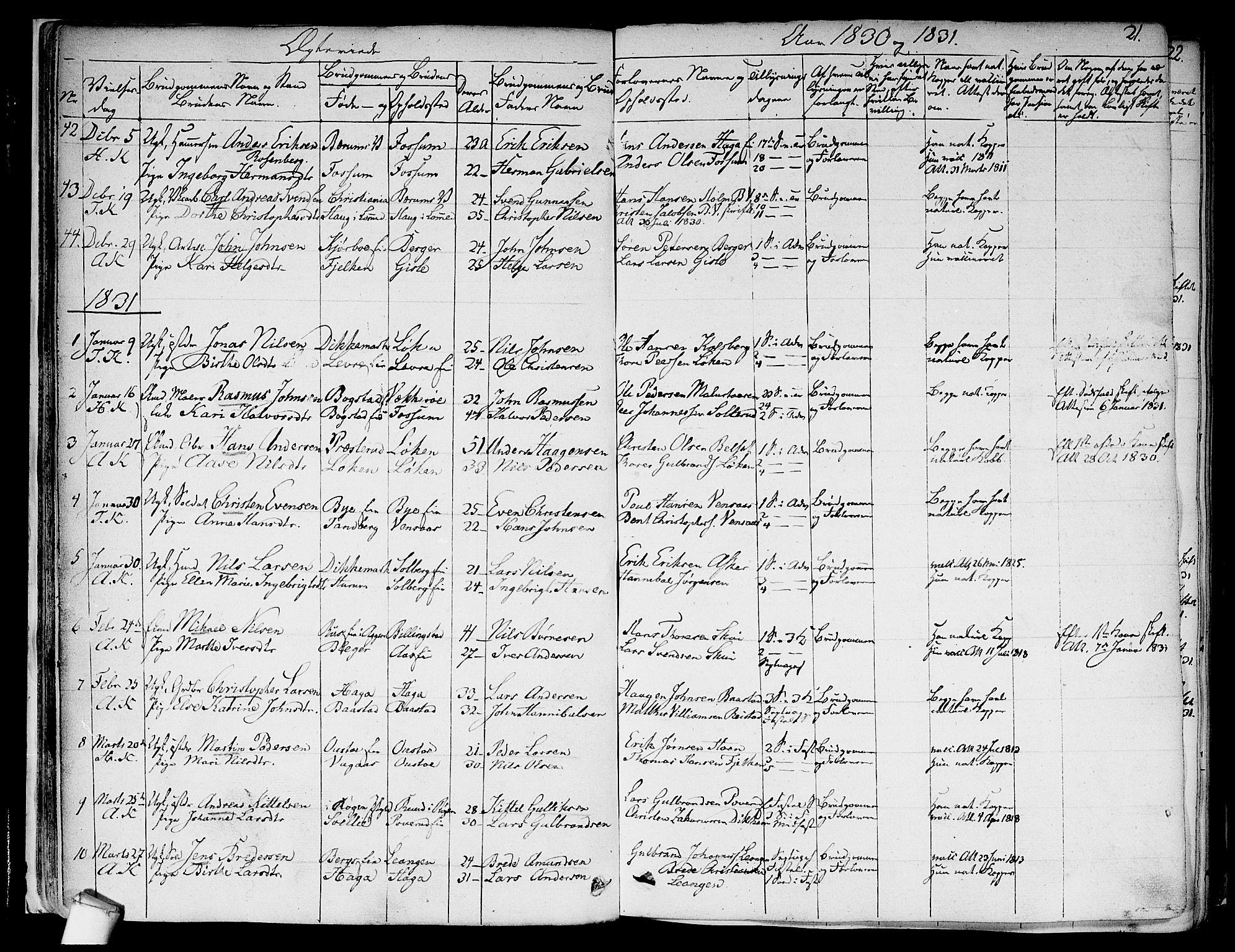 SAO, Asker prestekontor Kirkebøker, F/Fa/L0010: Ministerialbok nr. I 10, 1825-1878, s. 21