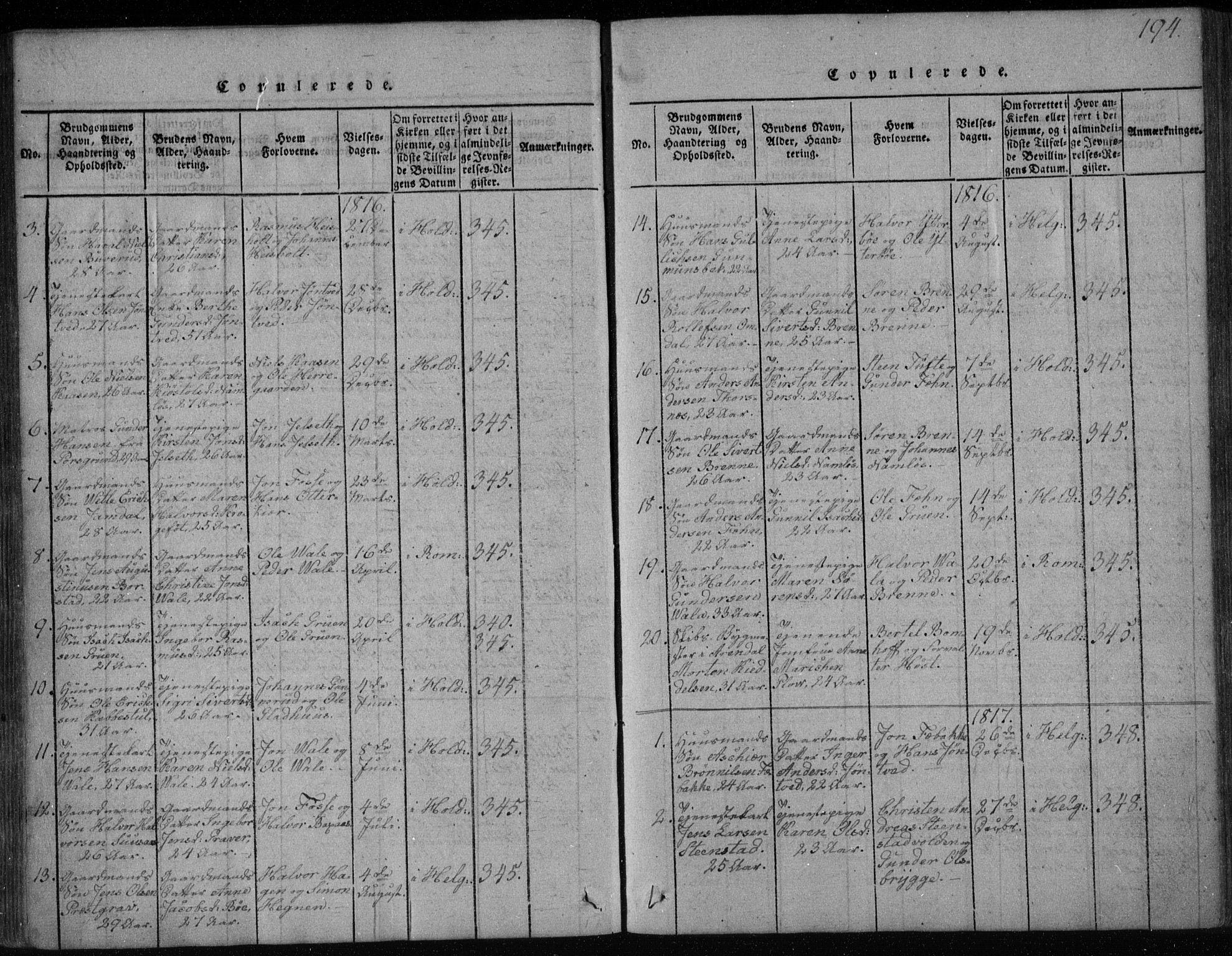 SAKO, Holla kirkebøker, F/Fa/L0003: Ministerialbok nr. 3, 1815-1830, s. 194