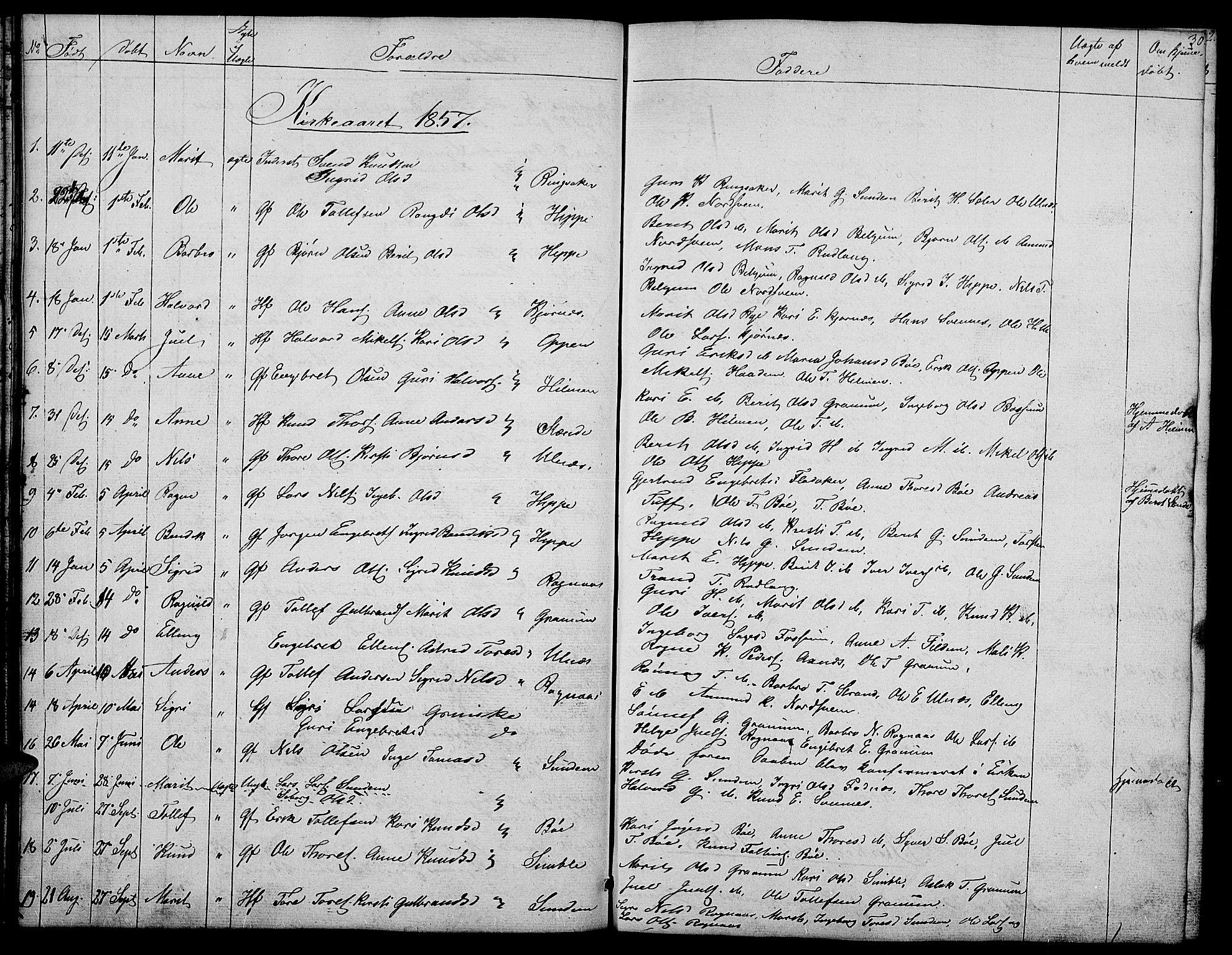 SAH, Nord-Aurdal prestekontor, Klokkerbok nr. 4, 1842-1882, s. 30