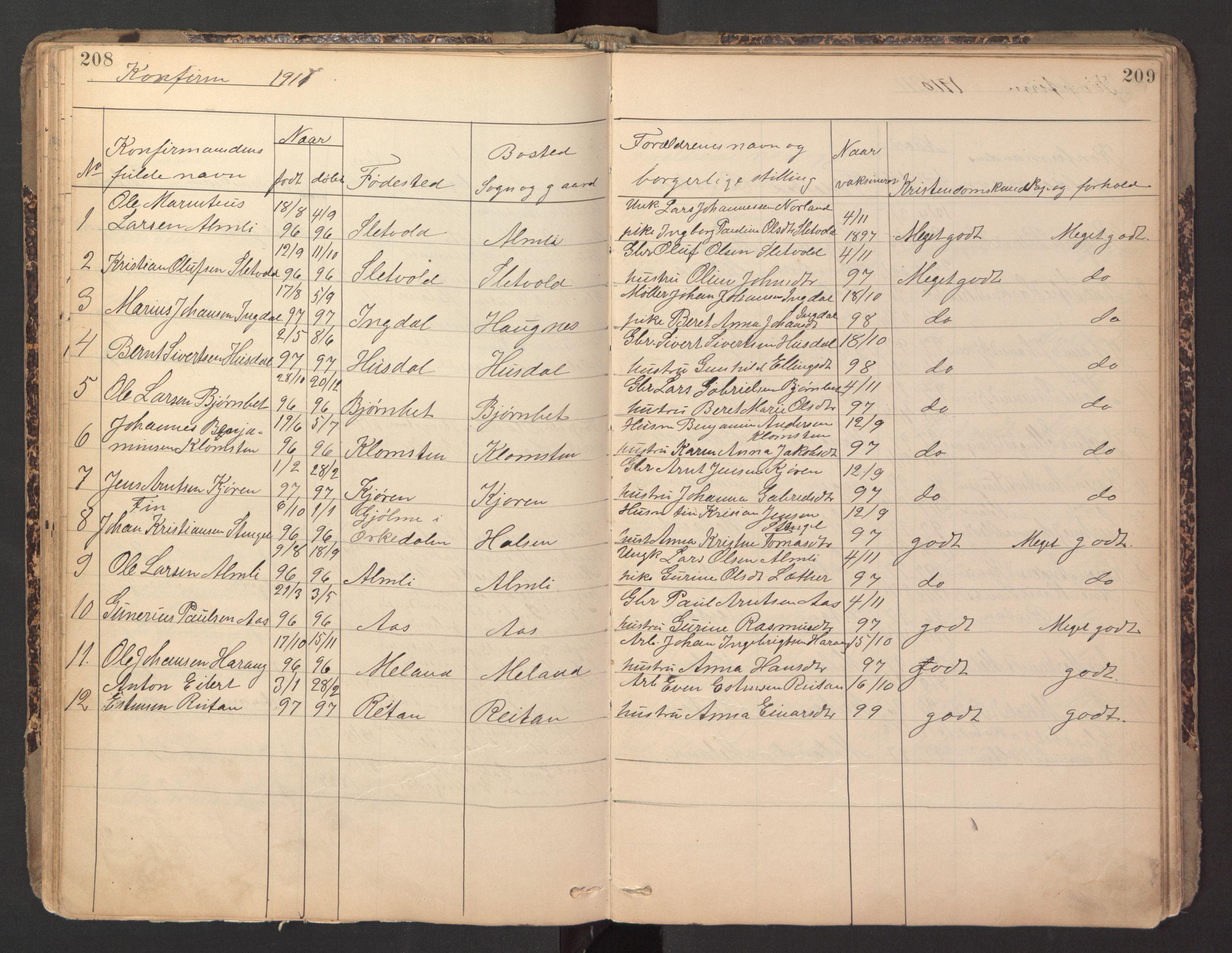 SAT, Ministerialprotokoller, klokkerbøker og fødselsregistre - Sør-Trøndelag, 670/L0837: Klokkerbok nr. 670C01, 1905-1946, s. 208-209