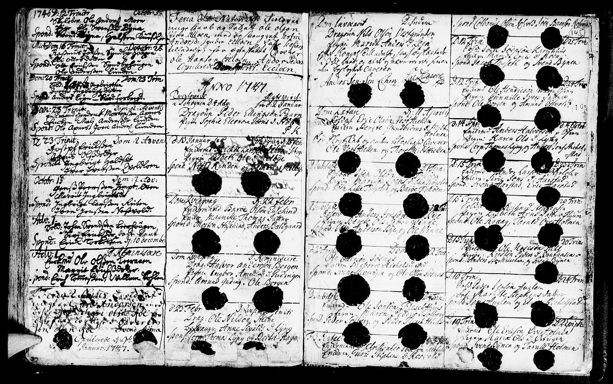 SAT, Ministerialprotokoller, klokkerbøker og fødselsregistre - Nord-Trøndelag, 723/L0230: Ministerialbok nr. 723A01, 1705-1747, s. 145
