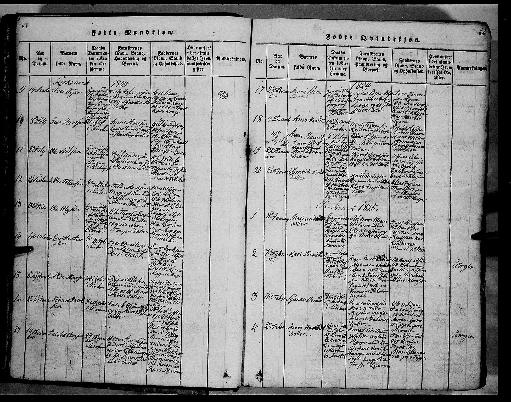 SAH, Fron prestekontor, H/Ha/Hab/L0002: Klokkerbok nr. 2, 1816-1850, s. 22