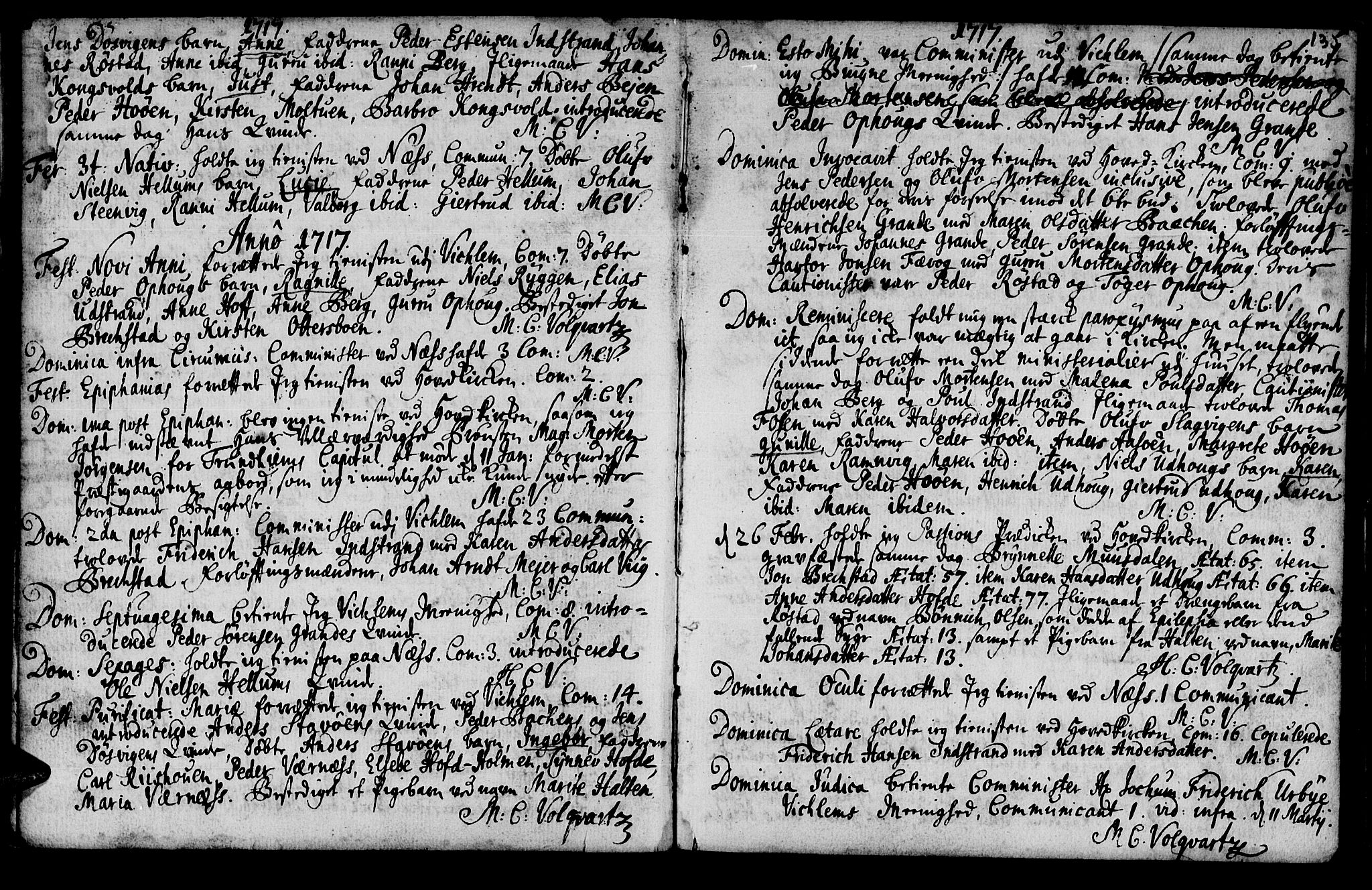 SAT, Ministerialprotokoller, klokkerbøker og fødselsregistre - Sør-Trøndelag, 659/L0731: Ministerialbok nr. 659A01, 1709-1731, s. 134-135