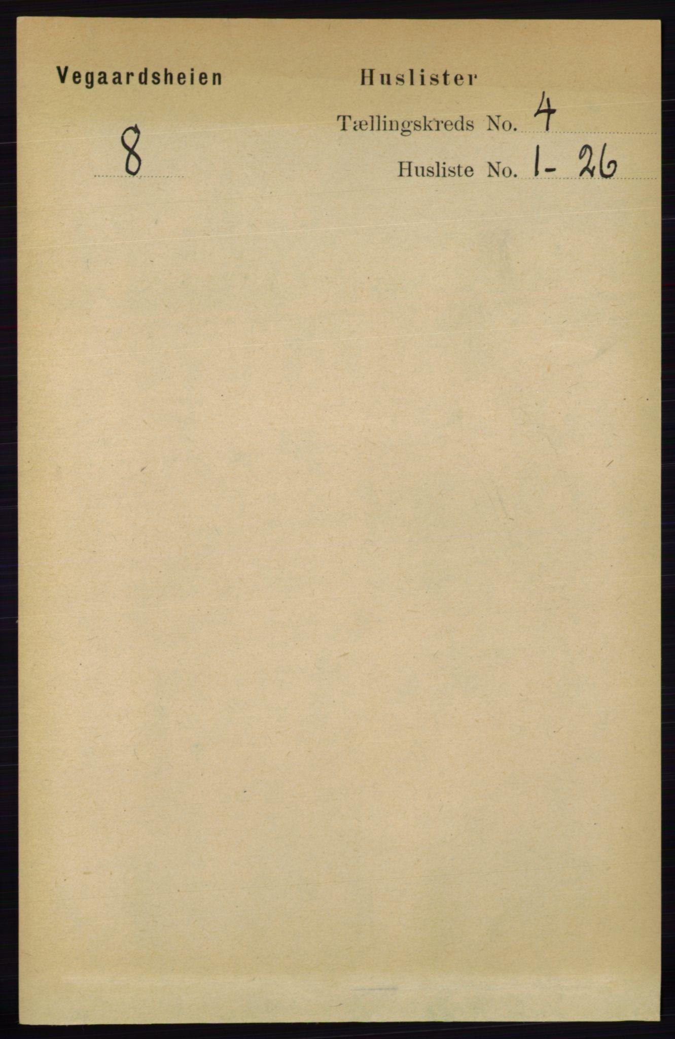 RA, Folketelling 1891 for 0912 Vegårshei herred, 1891, s. 728
