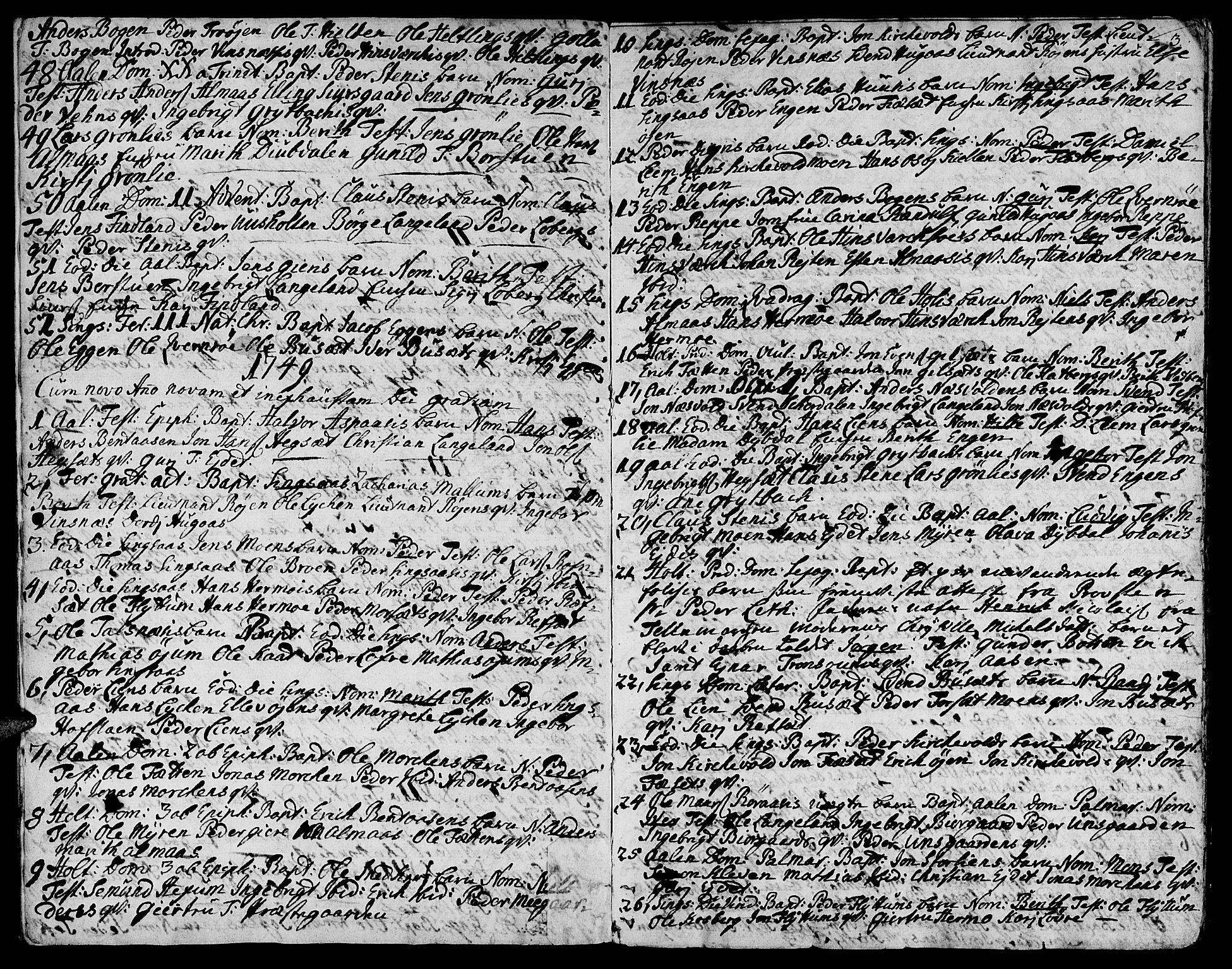 SAT, Ministerialprotokoller, klokkerbøker og fødselsregistre - Sør-Trøndelag, 685/L0952: Ministerialbok nr. 685A01, 1745-1804, s. 3