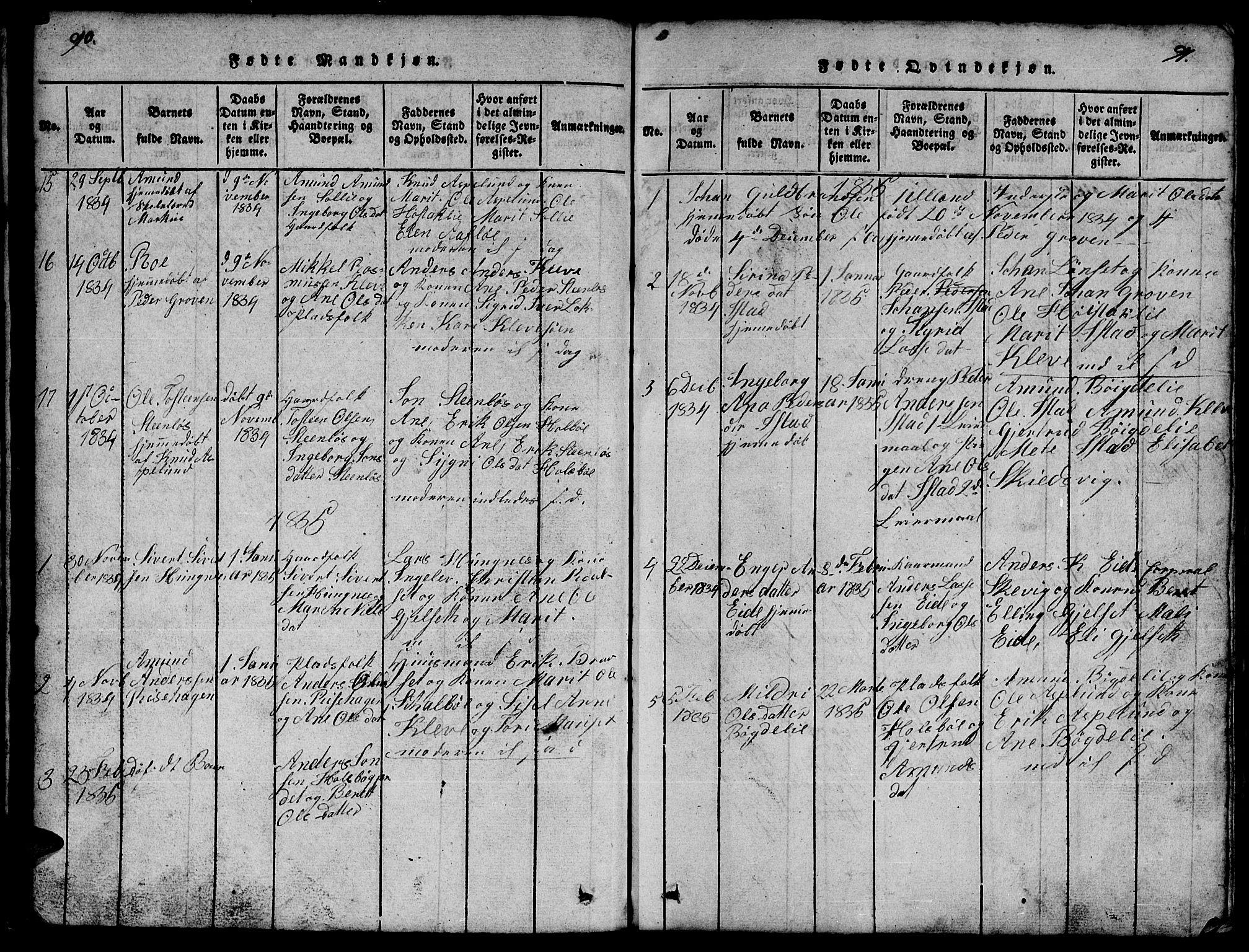 SAT, Ministerialprotokoller, klokkerbøker og fødselsregistre - Møre og Romsdal, 557/L0683: Klokkerbok nr. 557C01, 1818-1862, s. 90-91