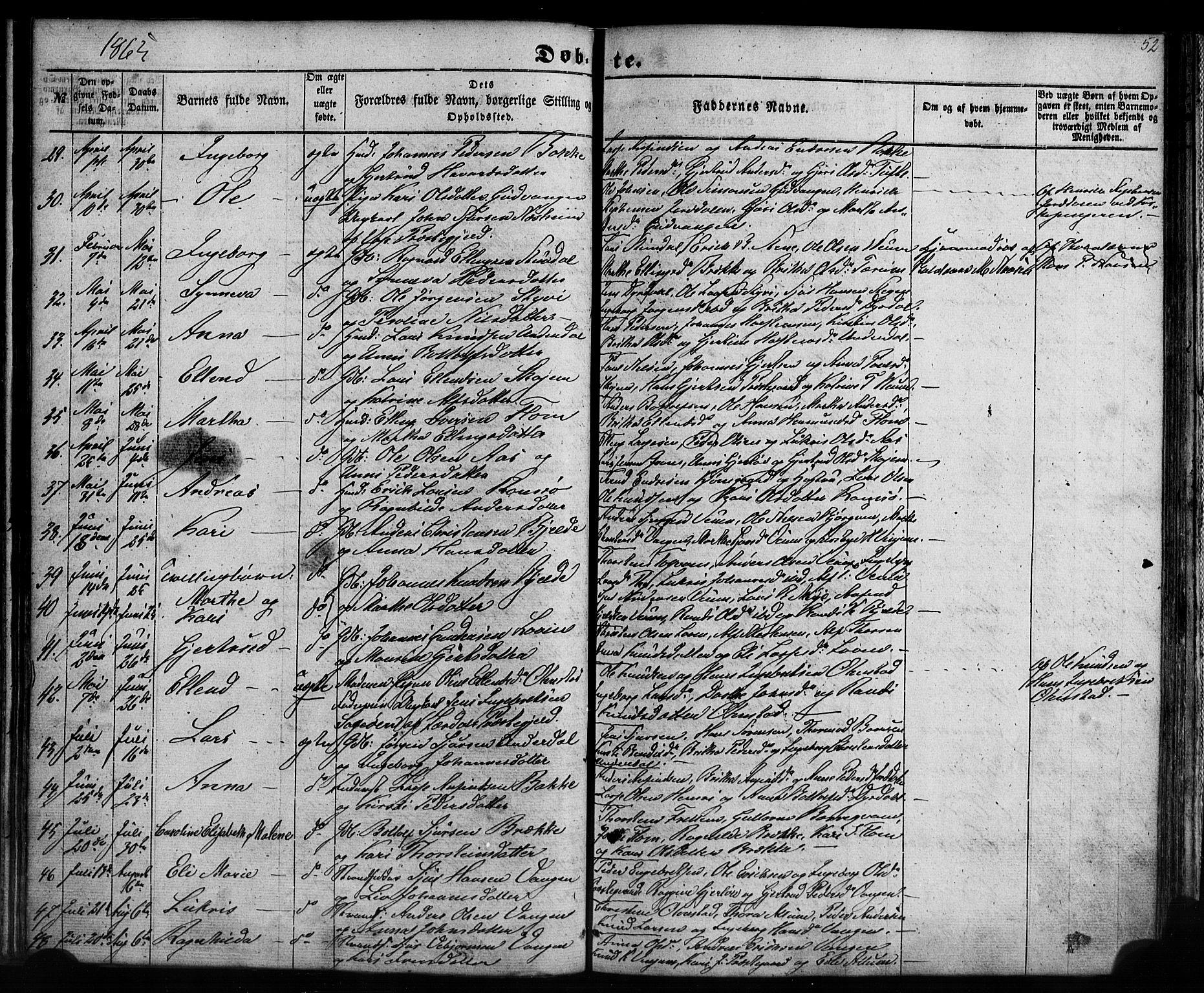 SAB, Aurland sokneprestembete, H/Ha/Haa/L0008: Ministerialbok nr. A 8, 1853-1879, s. 52