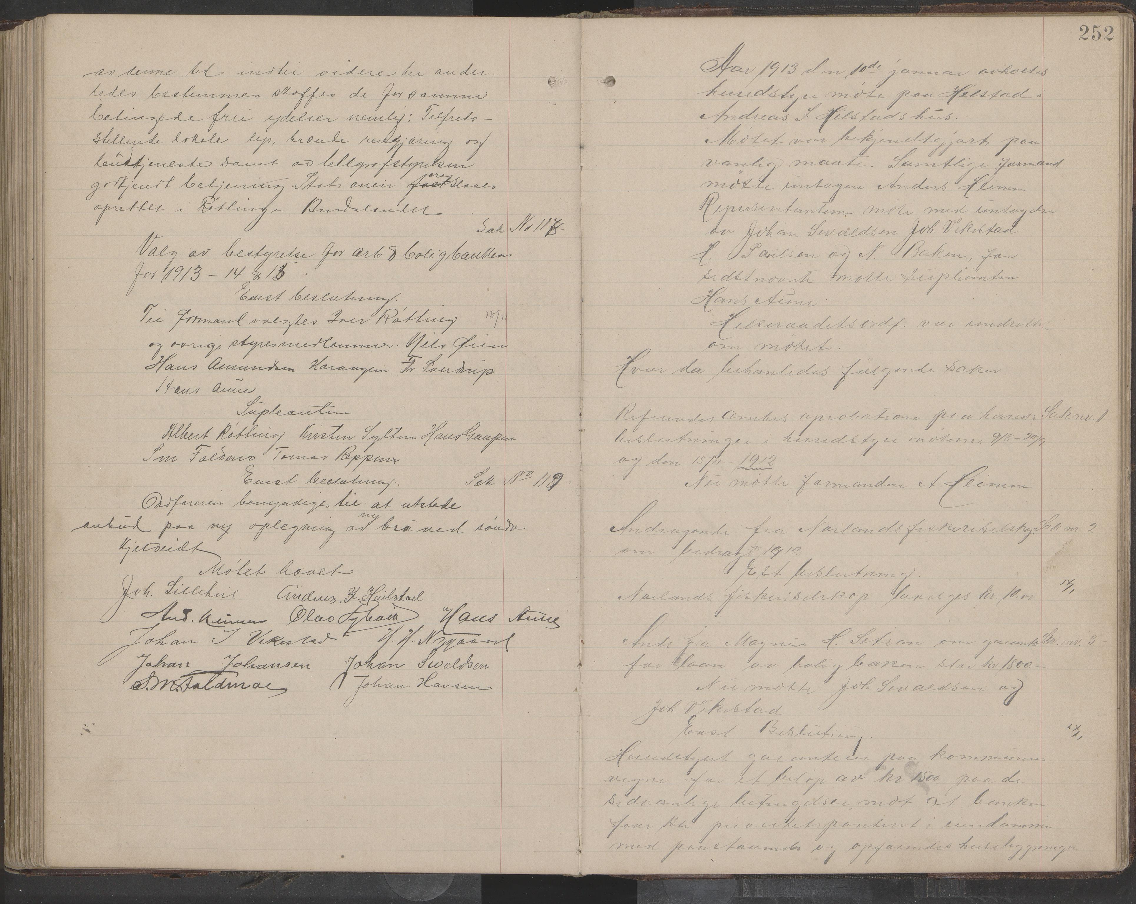 AIN, Bindal kommune. Formannskapet, A/Aa/L0000e: Møtebok, 1903-1914, s. 252