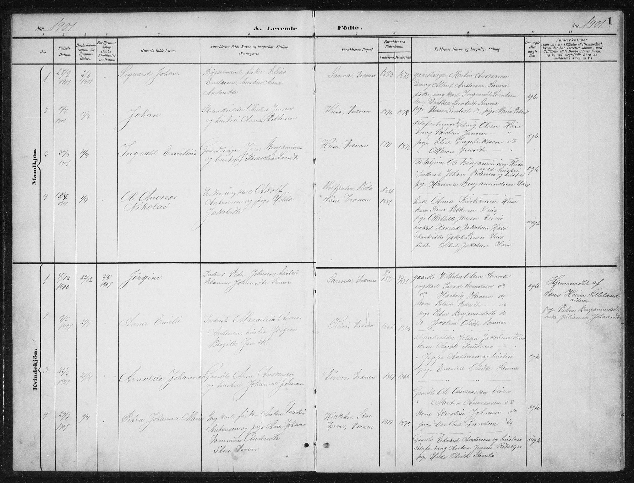 SAT, Ministerialprotokoller, klokkerbøker og fødselsregistre - Nordland, 840/L0583: Klokkerbok nr. 840C03, 1901-1933, s. 1