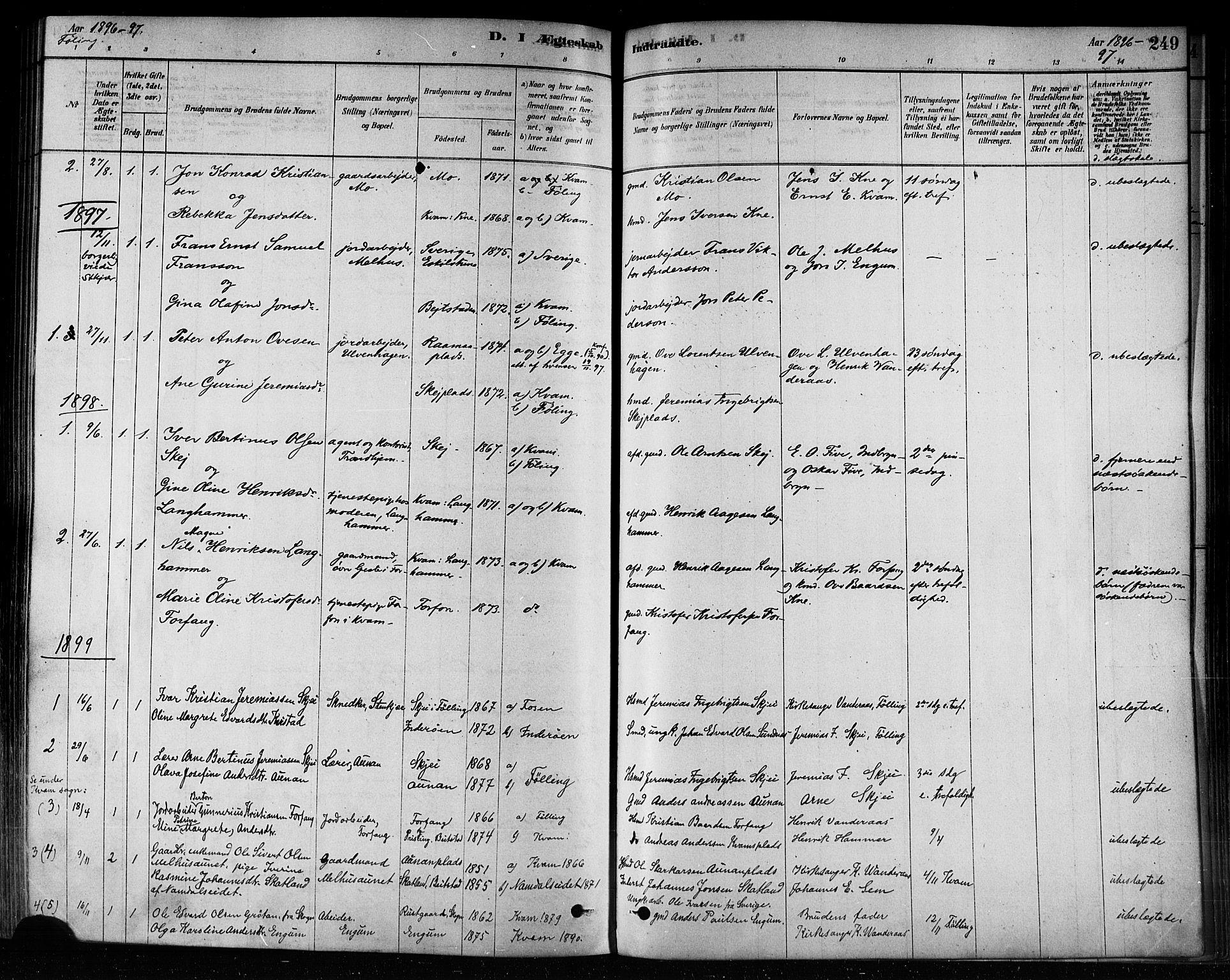 SAT, Ministerialprotokoller, klokkerbøker og fødselsregistre - Nord-Trøndelag, 746/L0449: Ministerialbok nr. 746A07 /3, 1878-1899, s. 249