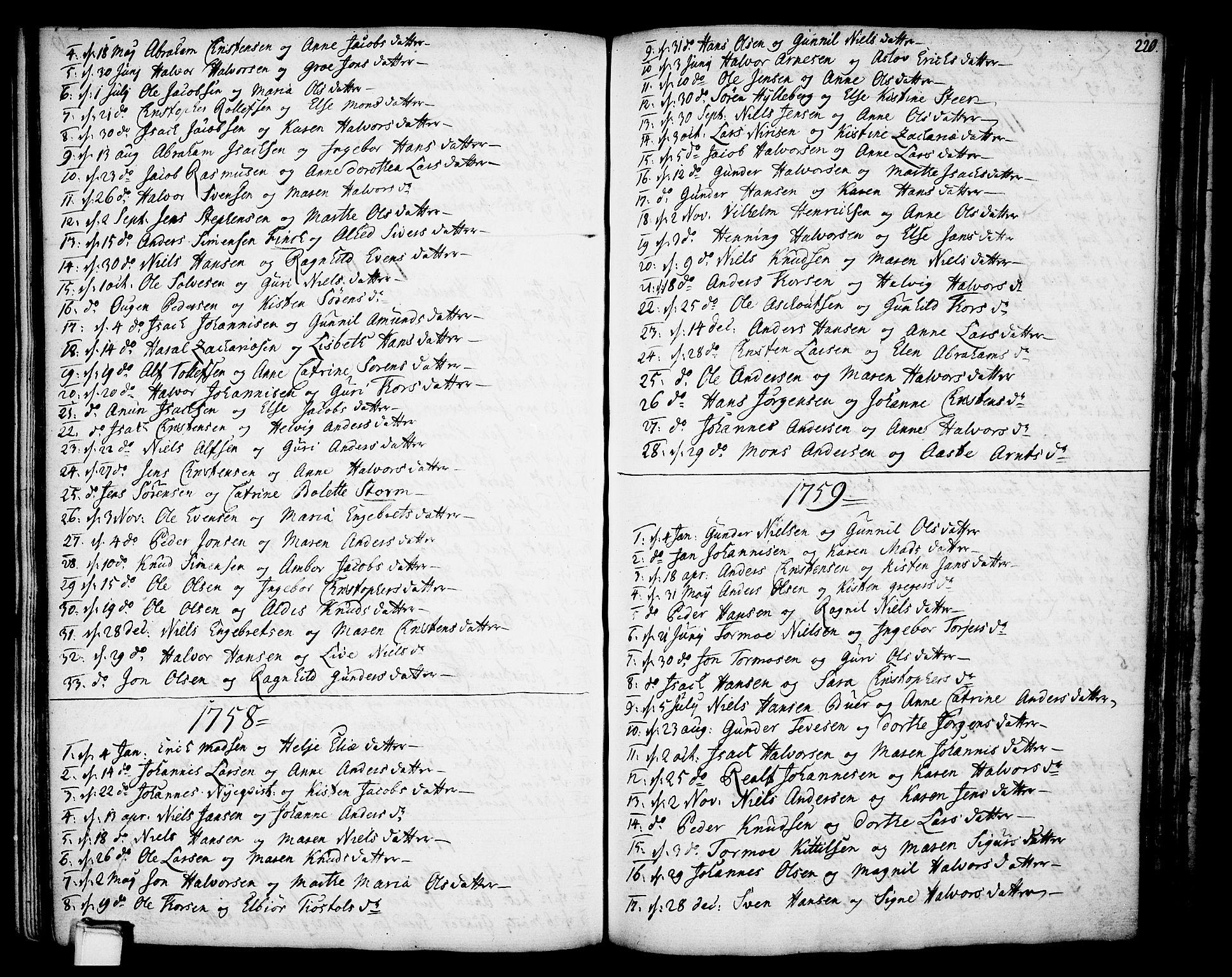 SAKO, Gjerpen kirkebøker, F/Fa/L0002: Ministerialbok nr. 2, 1747-1795, s. 220