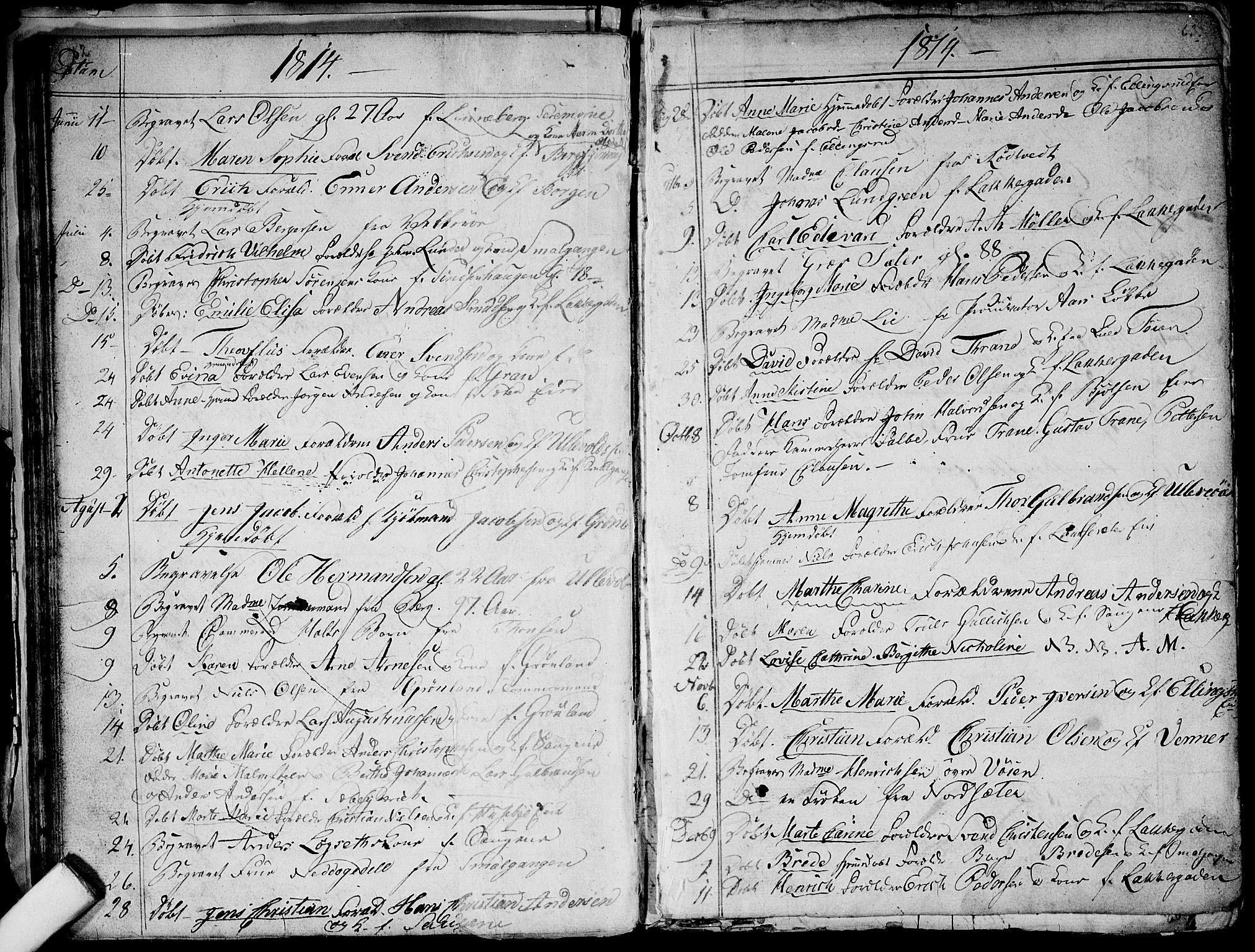 SAO, Aker prestekontor kirkebøker, G/L0001: Klokkerbok nr. 1, 1796-1826, s. 62-63