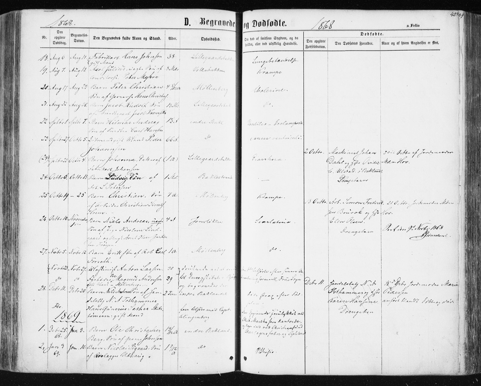 SAT, Ministerialprotokoller, klokkerbøker og fødselsregistre - Sør-Trøndelag, 604/L0186: Ministerialbok nr. 604A07, 1866-1877, s. 428