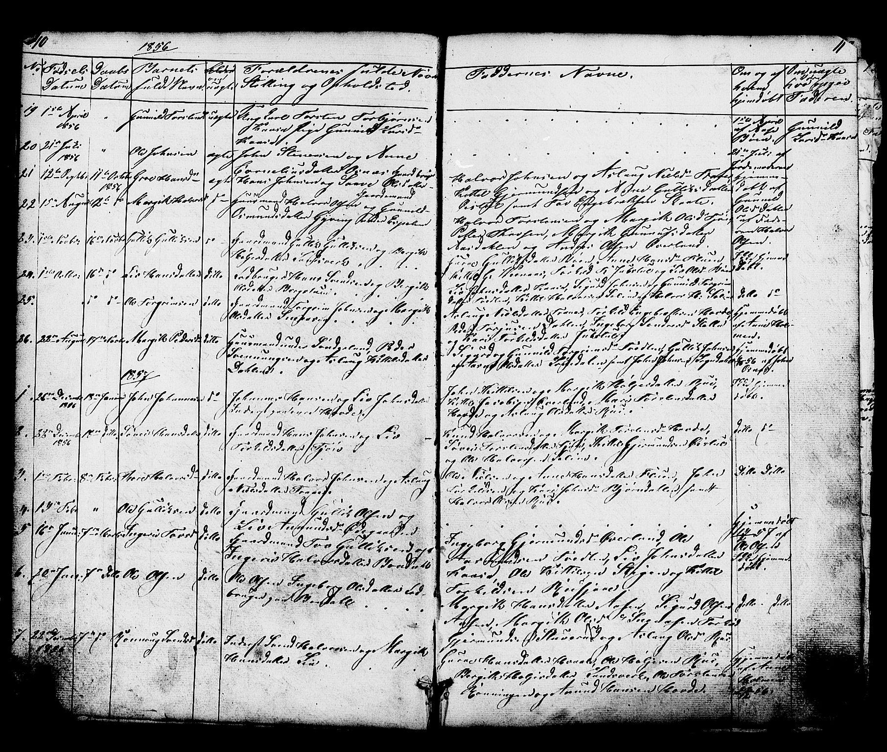 SAKO, Hjartdal kirkebøker, G/Gc/L0002: Klokkerbok nr. III 2, 1854-1890, s. 10-11