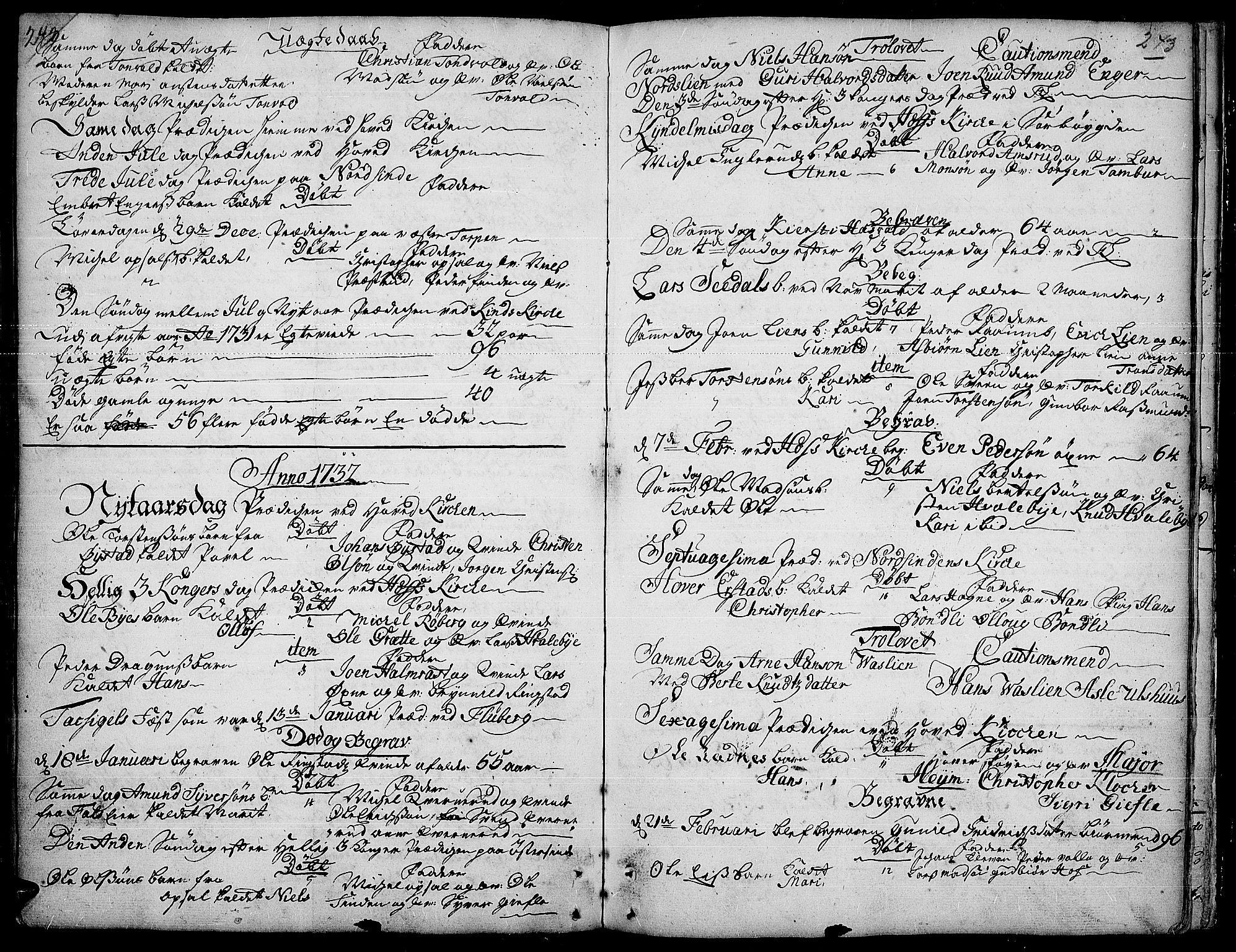 SAH, Land prestekontor, Ministerialbok nr. 1, 1708-1732, s. 242-243