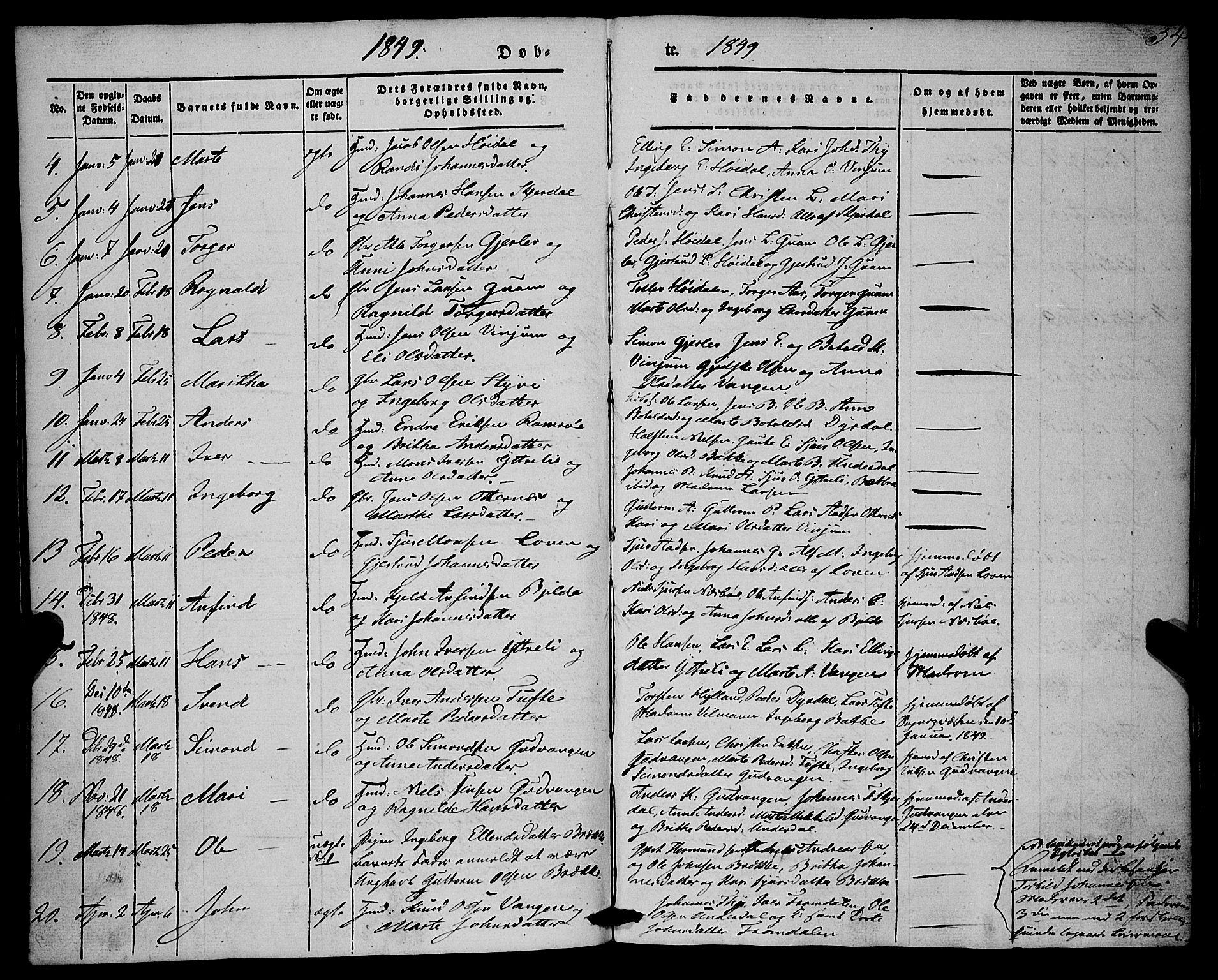 SAB, Aurland Sokneprestembete*, Ministerialbok nr. A 7, 1842-1853, s. 54