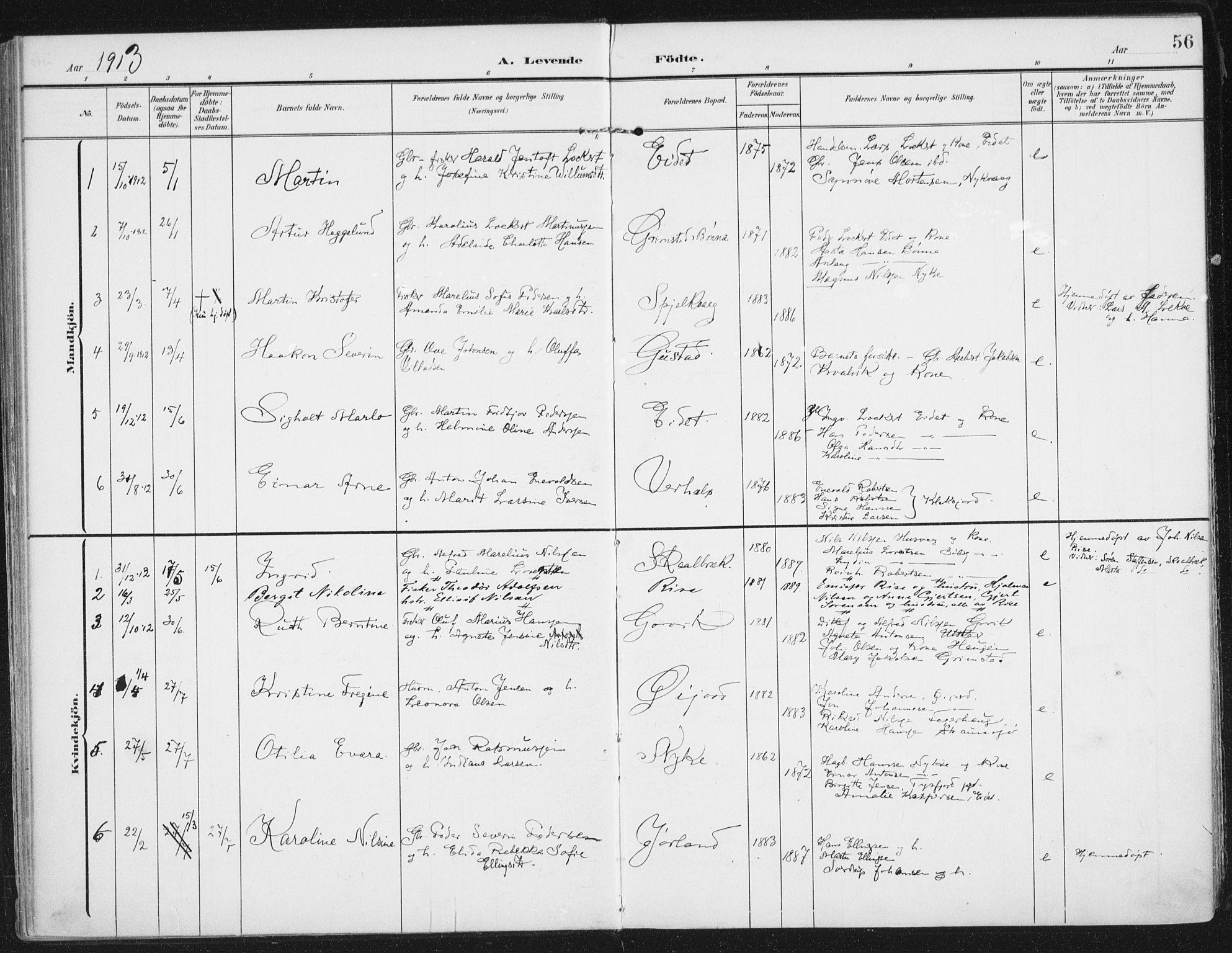 SAT, Ministerialprotokoller, klokkerbøker og fødselsregistre - Nordland, 892/L1321: Ministerialbok nr. 892A02, 1902-1918, s. 56