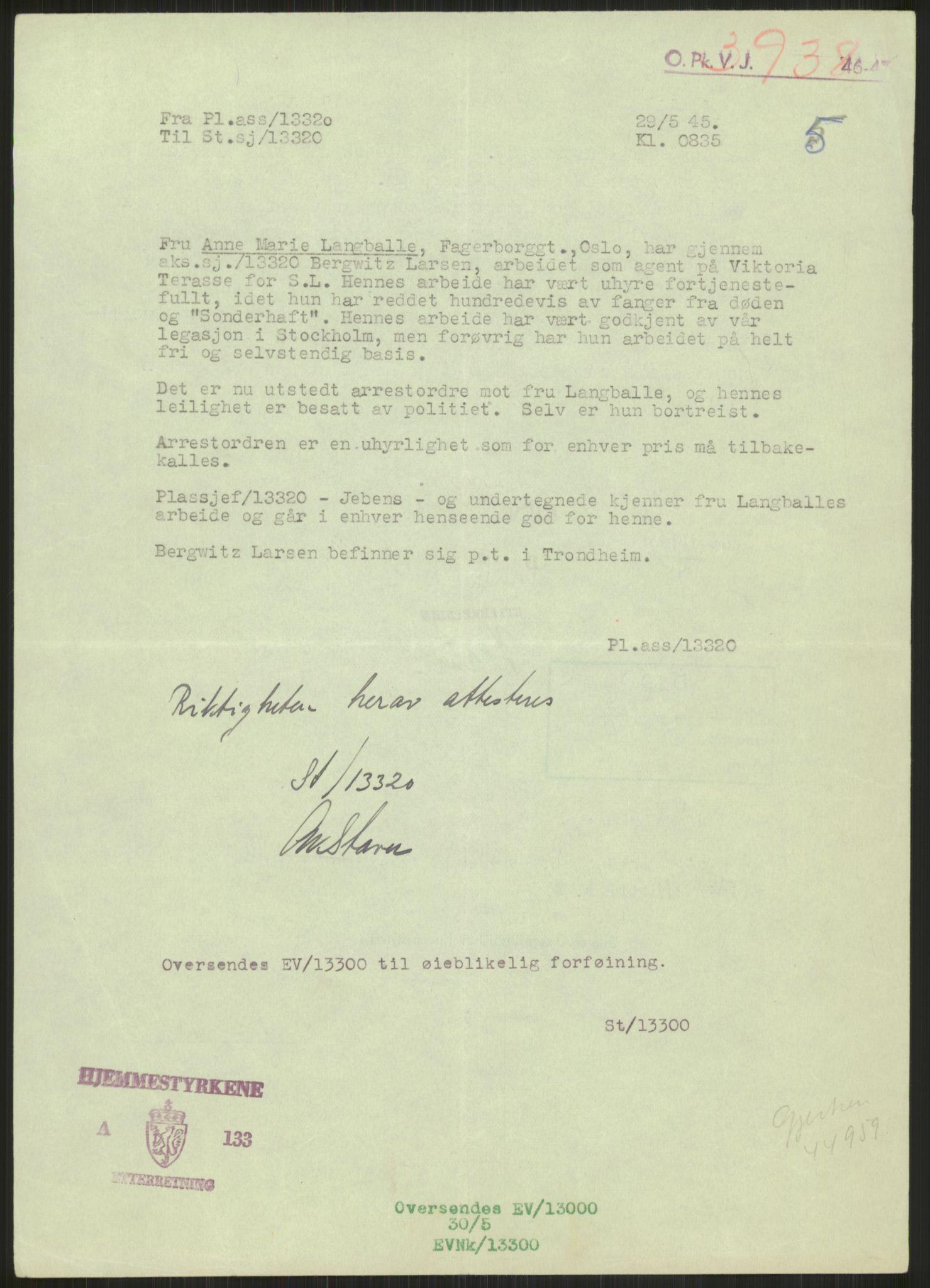 RA, Landssvikarkivet, Oslo politikammer, D/Dg/L0267: Henlagt hnr. 3658, 1945-1946, s. 43
