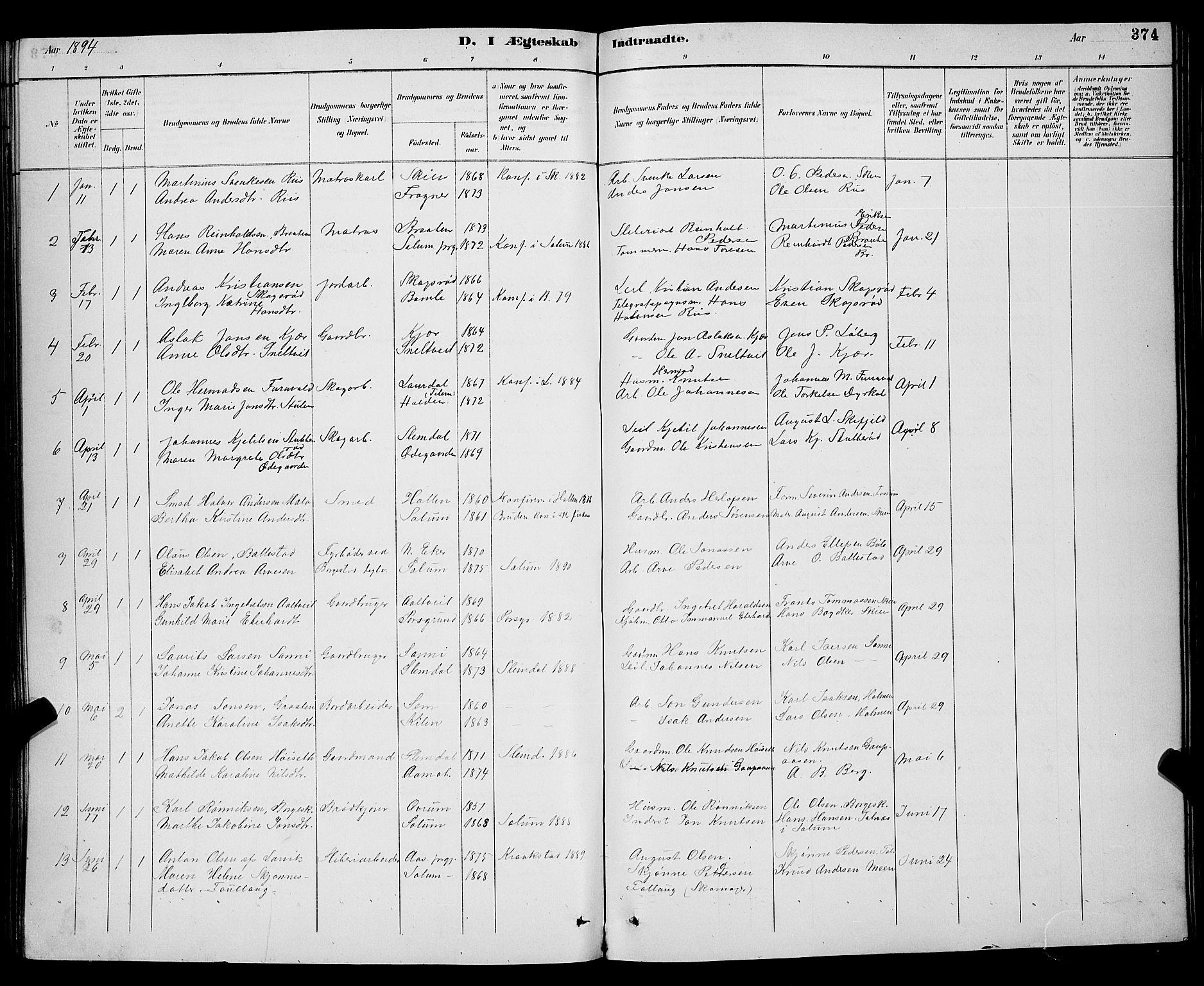 SAKO, Gjerpen kirkebøker, G/Ga/L0002: Klokkerbok nr. I 2, 1883-1900, s. 374