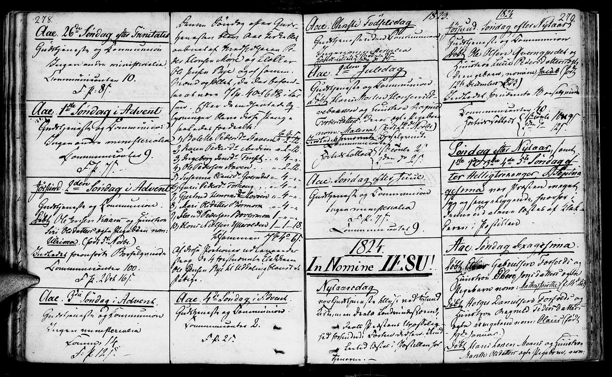 SAT, Ministerialprotokoller, klokkerbøker og fødselsregistre - Sør-Trøndelag, 655/L0674: Ministerialbok nr. 655A03, 1802-1826, s. 278-279