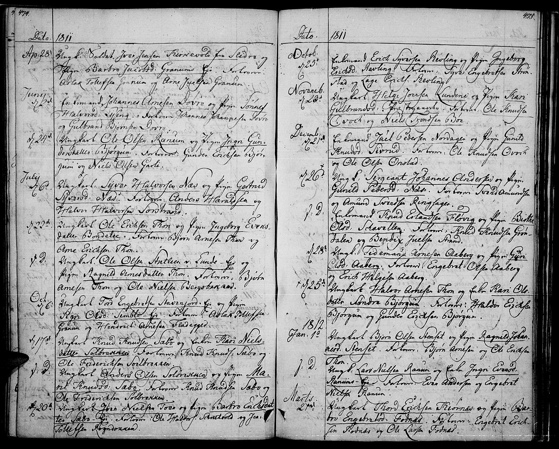 SAH, Nord-Aurdal prestekontor, Ministerialbok nr. 1, 1808-1815, s. 474-475