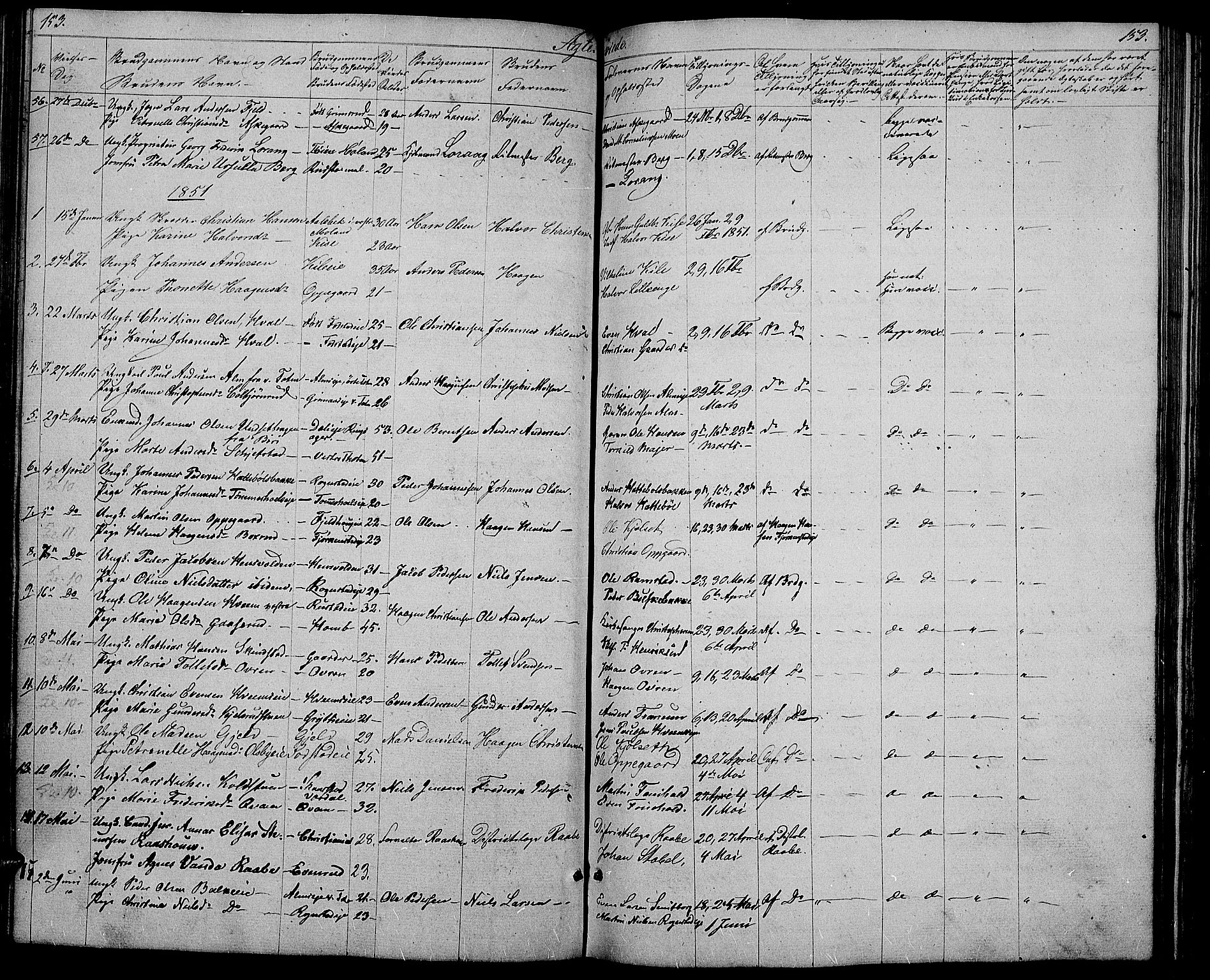 SAH, Østre Toten prestekontor, Klokkerbok nr. 3, 1848-1857, s. 153