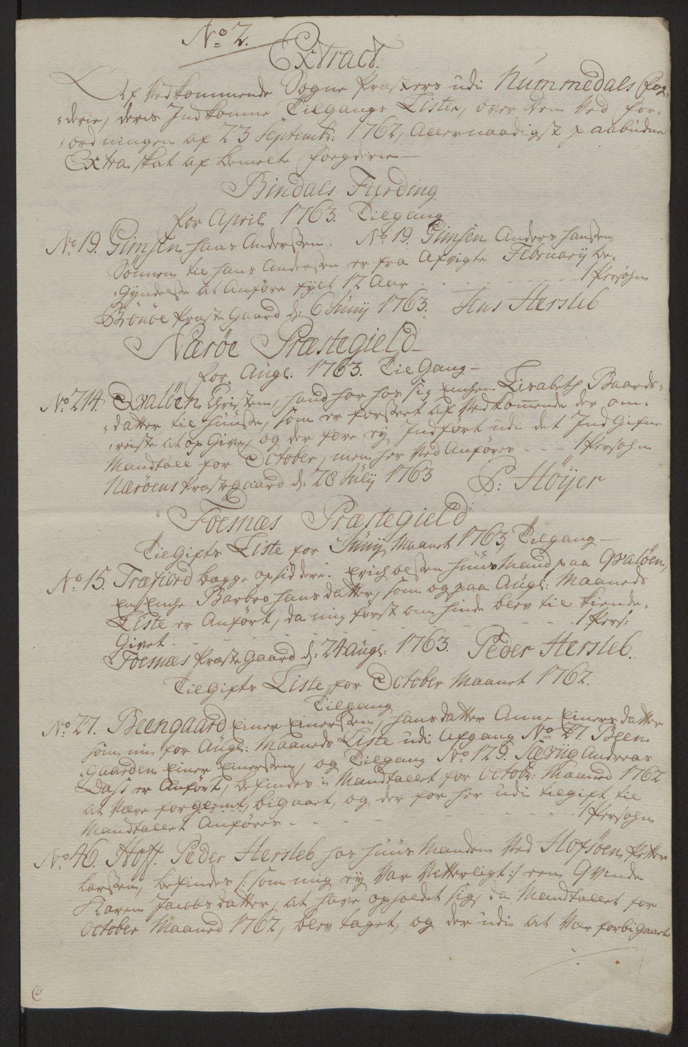 RA, Rentekammeret inntil 1814, Reviderte regnskaper, Fogderegnskap, R64/L4502: Ekstraskatten Namdal, 1762-1772, s. 66