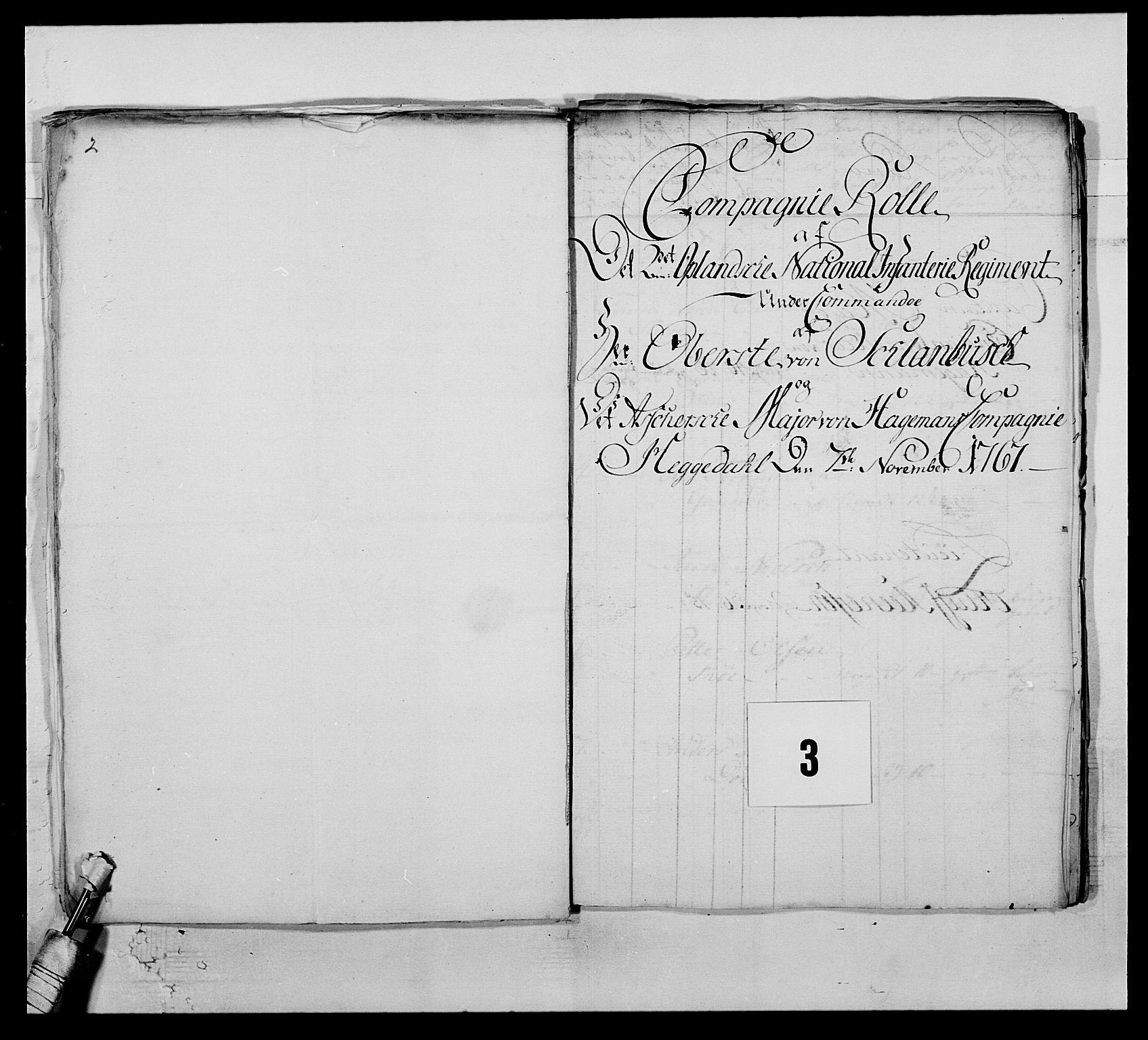 RA, Kommanderende general (KG I) med Det norske krigsdirektorium, E/Ea/L0507: 2. Opplandske regiment, 1766-1767, s. 18