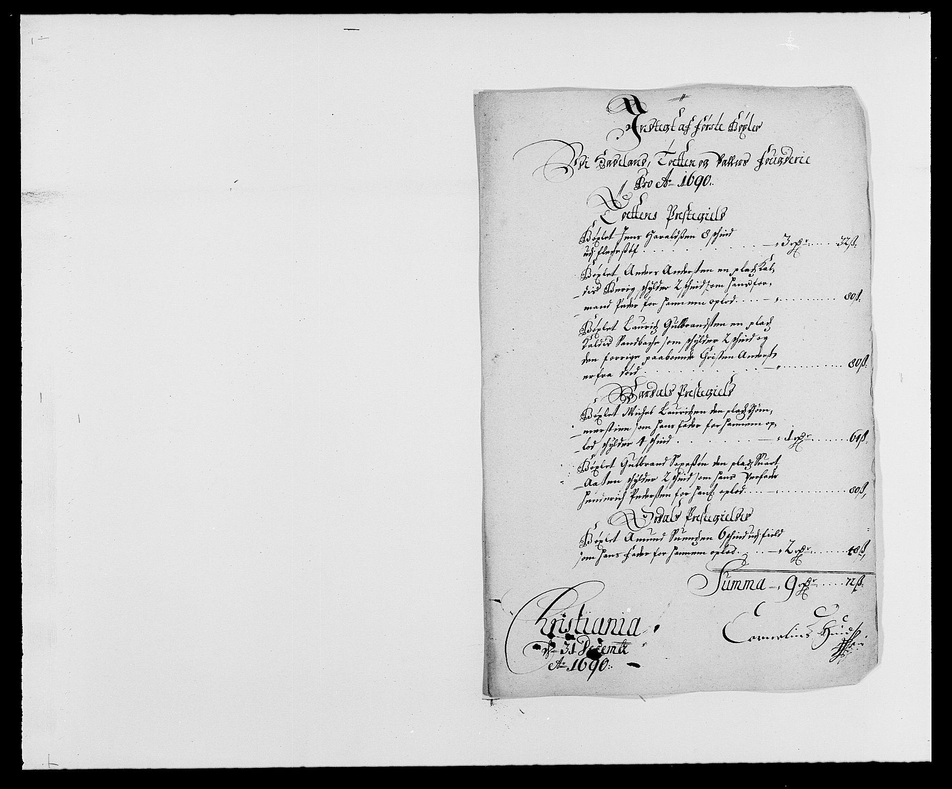 RA, Rentekammeret inntil 1814, Reviderte regnskaper, Fogderegnskap, R18/L1289: Fogderegnskap Hadeland, Toten og Valdres, 1690, s. 64
