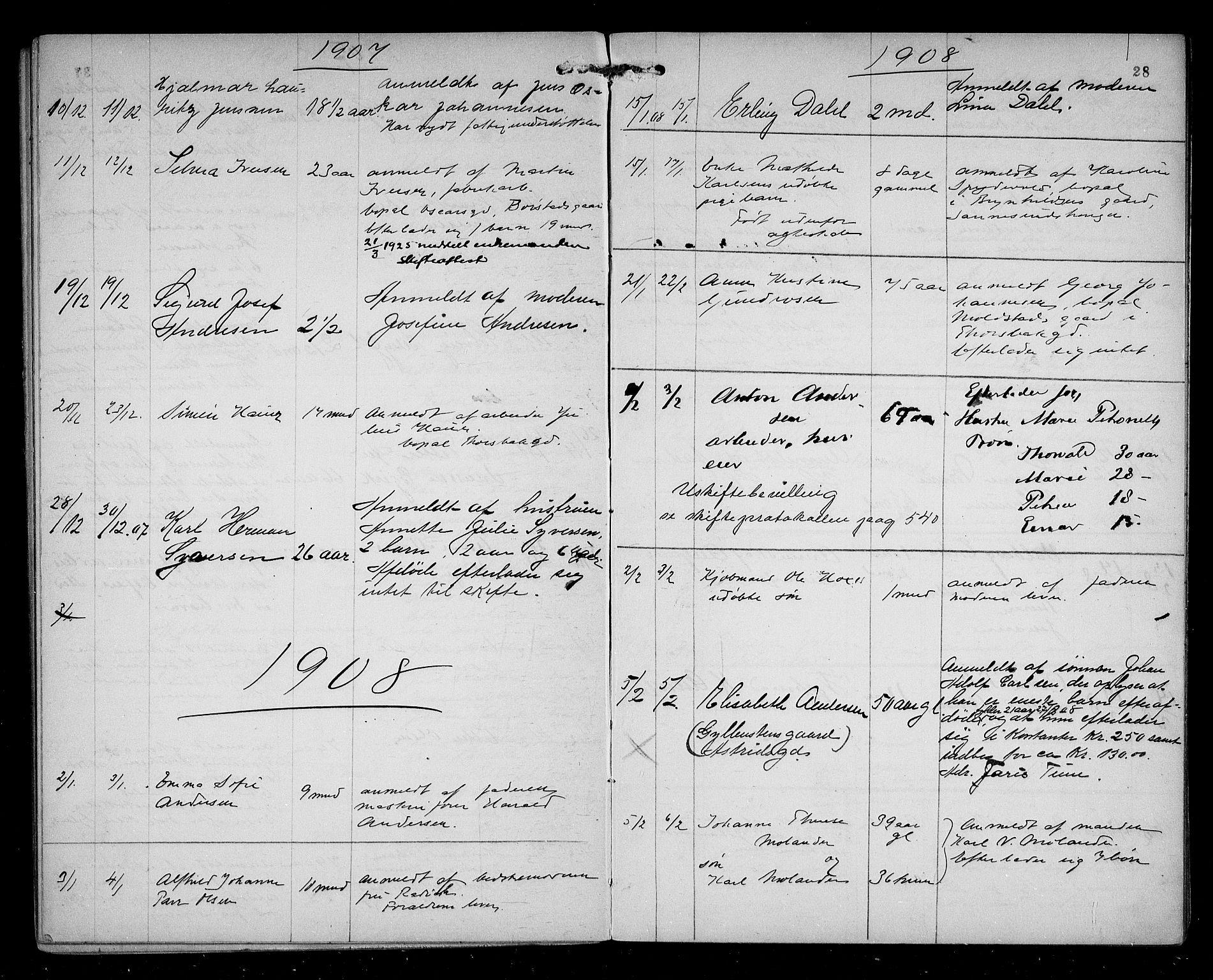 SAO, Sarpsborg byfogd, H/Ha/Haa/L0002: Dødsfallsprotokoll, 1904-1914, s. 27b-28a