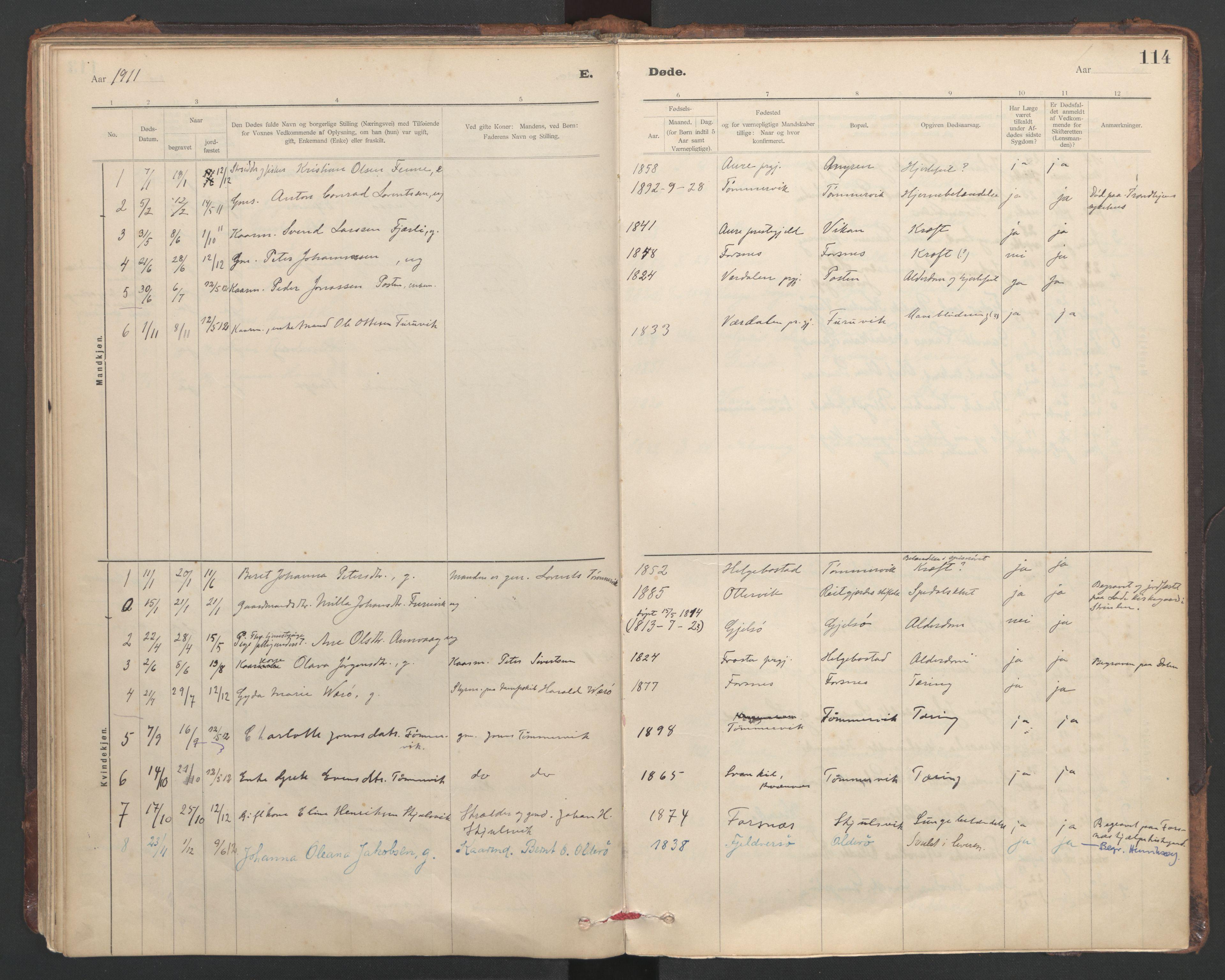 SAT, Ministerialprotokoller, klokkerbøker og fødselsregistre - Sør-Trøndelag, 635/L0552: Ministerialbok nr. 635A02, 1899-1919, s. 114