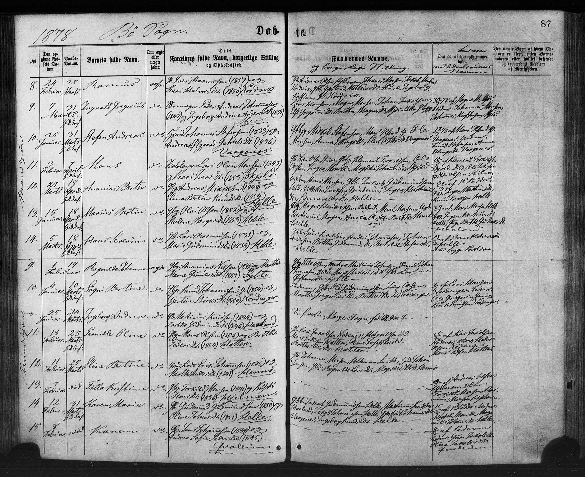 SAB, Manger sokneprestembete, H/Haa: Ministerialbok nr. A 8, 1871-1880, s. 87