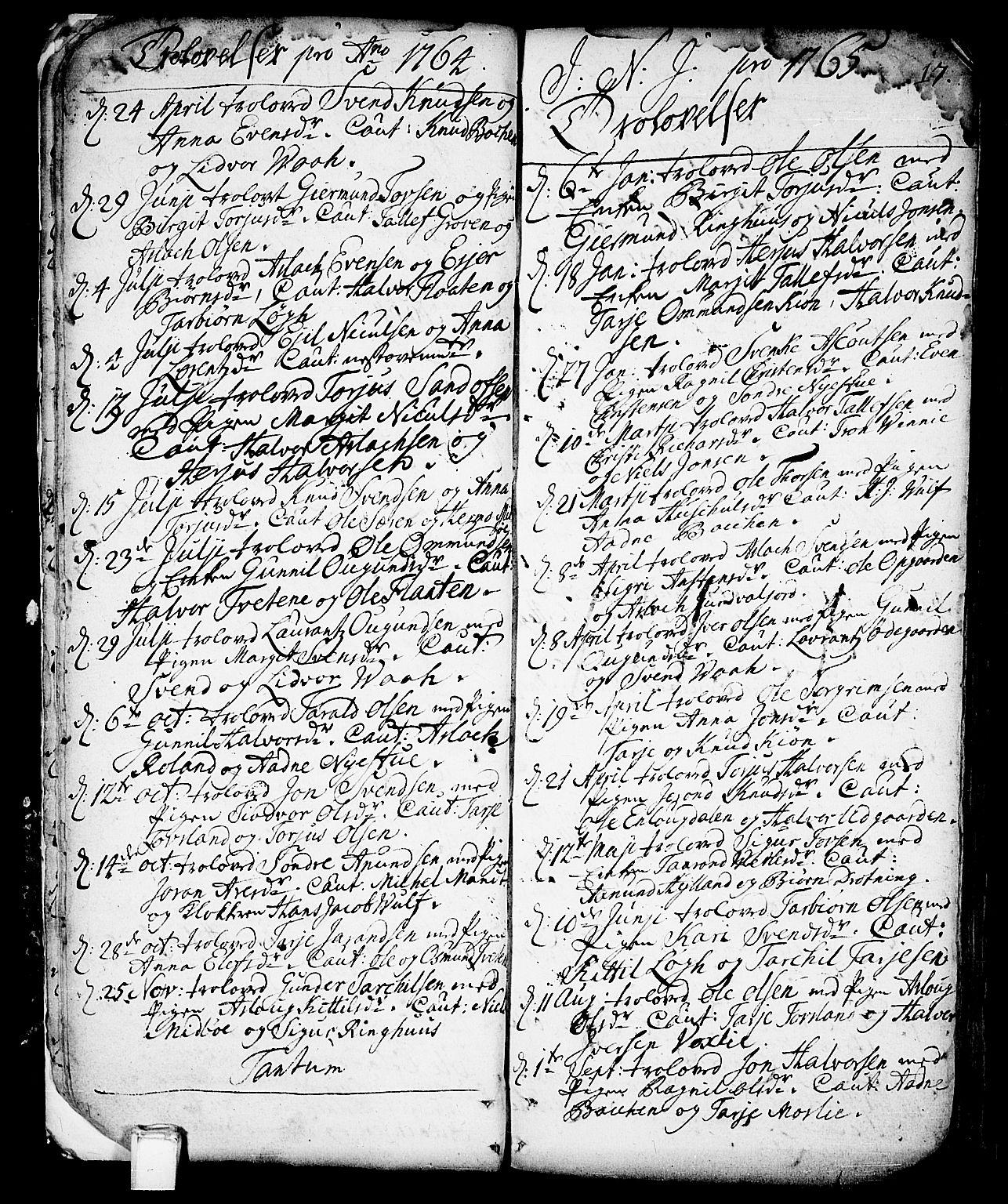SAKO, Vinje kirkebøker, F/Fa/L0001: Ministerialbok nr. I 1, 1717-1766, s. 17