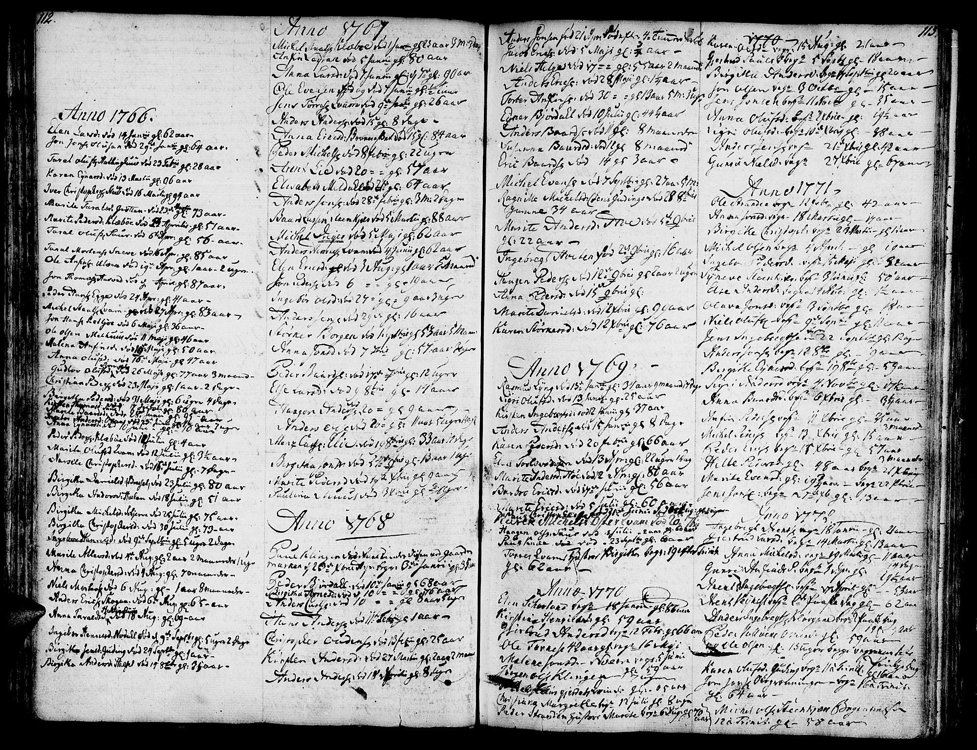 SAT, Ministerialprotokoller, klokkerbøker og fødselsregistre - Nord-Trøndelag, 746/L0440: Ministerialbok nr. 746A02, 1760-1815, s. 112-113