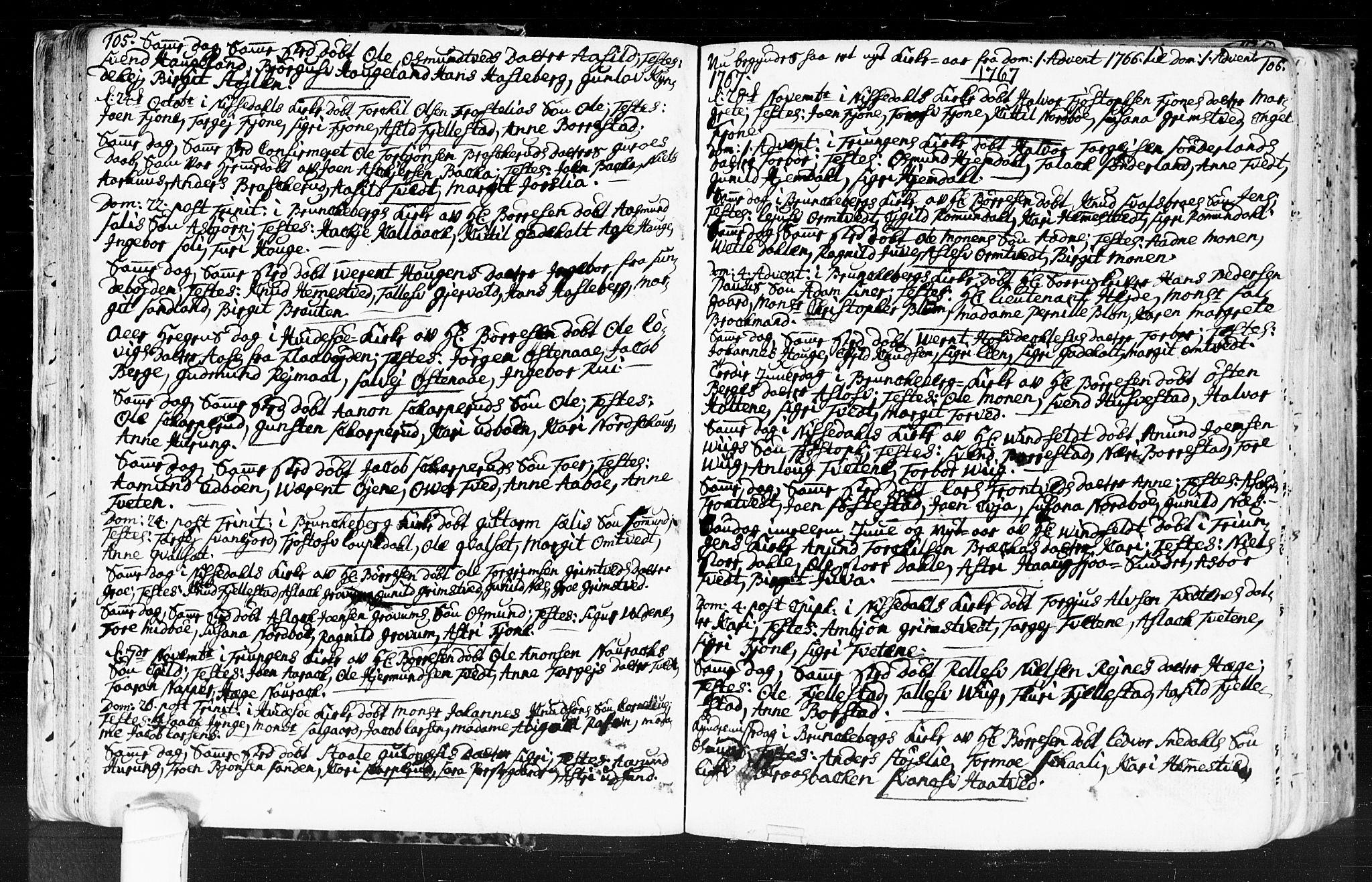 SAKO, Kviteseid kirkebøker, F/Fa/L0001: Ministerialbok nr. I 1, 1754-1773, s. 105-106