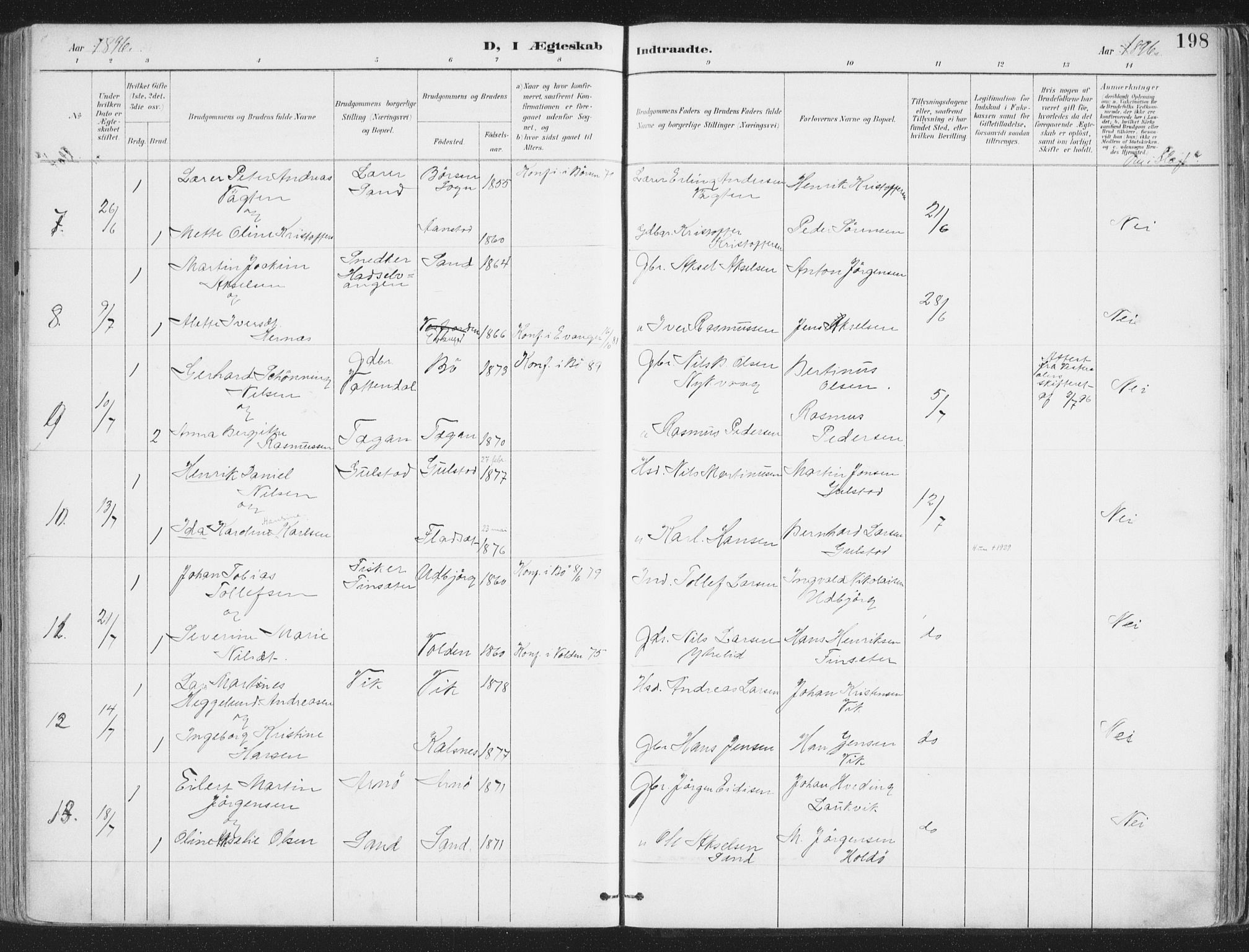 SAT, Ministerialprotokoller, klokkerbøker og fødselsregistre - Nordland, 888/L1246: Ministerialbok nr. 888A12, 1891-1903, s. 198