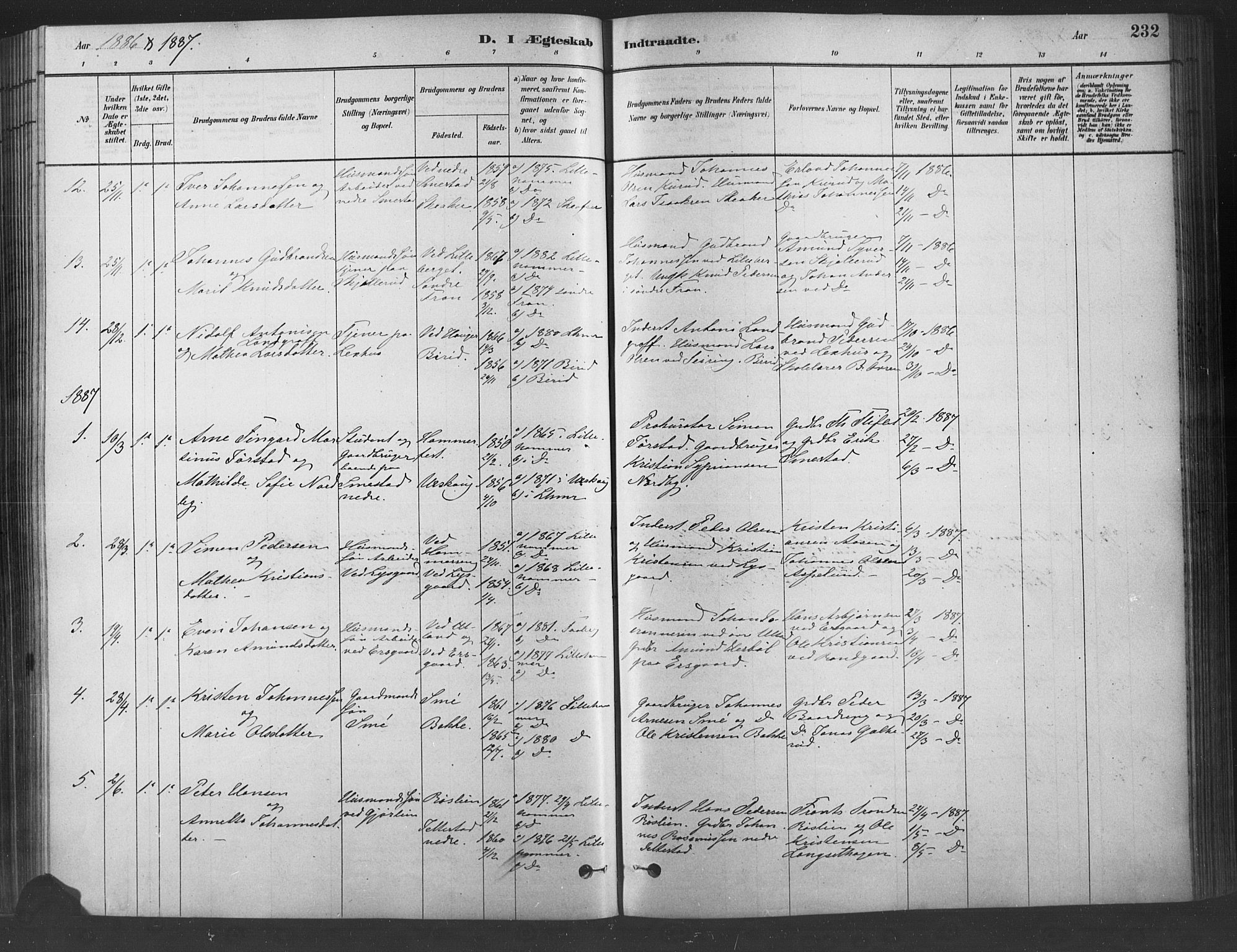 SAH, Fåberg prestekontor, Ministerialbok nr. 9, 1879-1898, s. 232