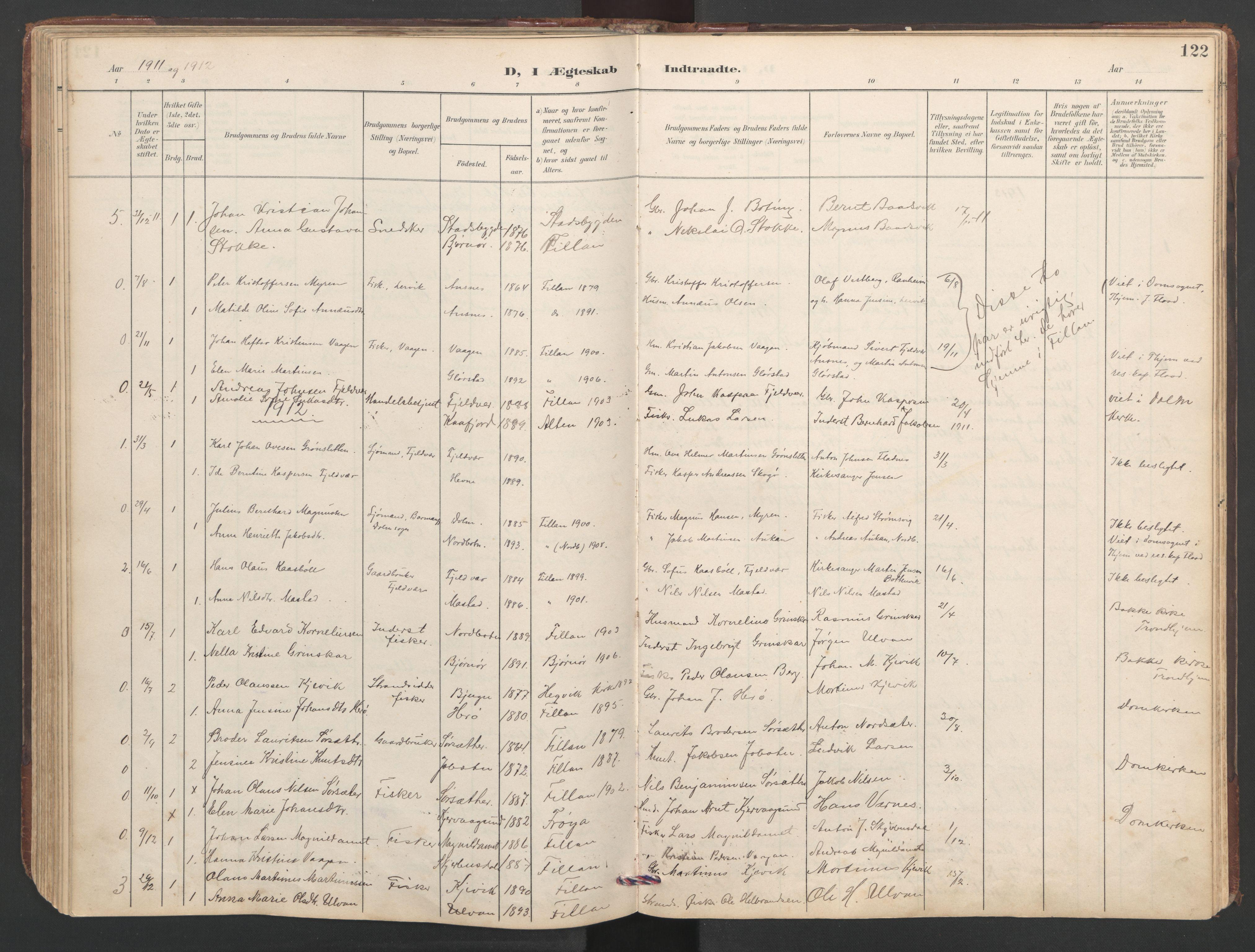 SAT, Ministerialprotokoller, klokkerbøker og fødselsregistre - Sør-Trøndelag, 638/L0571: Klokkerbok nr. 638C03, 1901-1930, s. 122