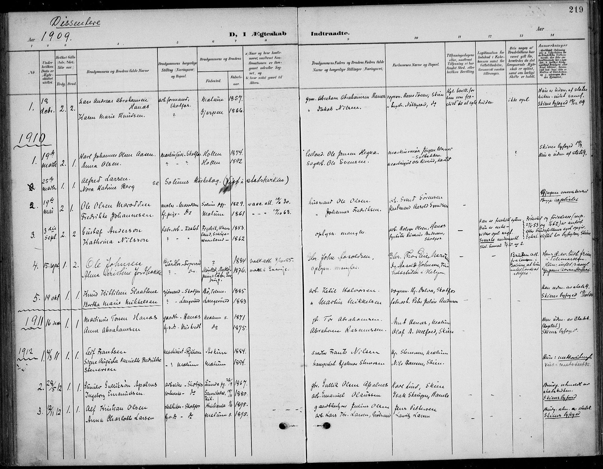 SAKO, Solum kirkebøker, F/Fb/L0003: Ministerialbok nr. II 3, 1901-1912, s. 219