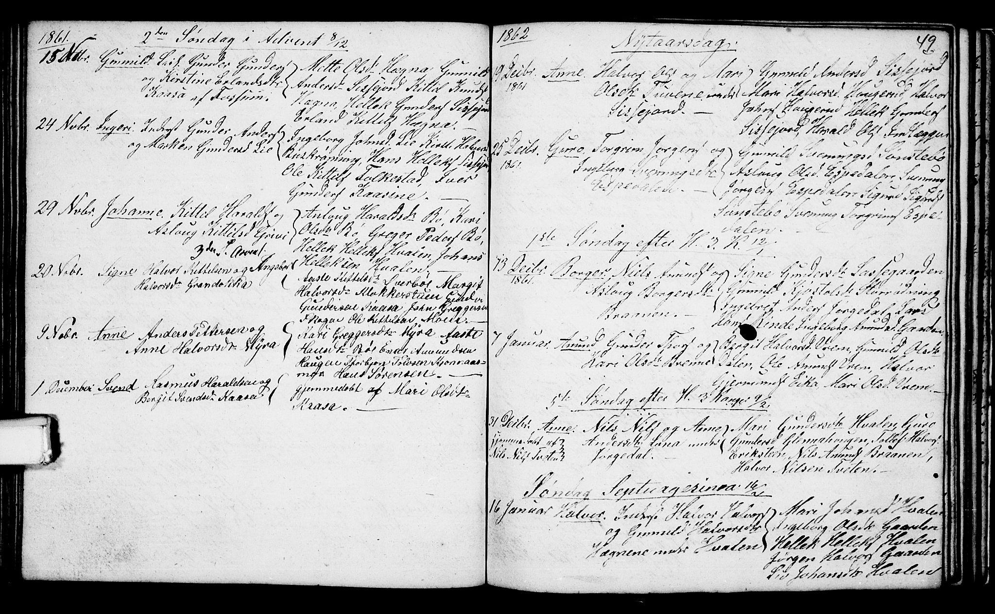 SAKO, Bø kirkebøker, G/Ga/L0002: Klokkerbok nr. 2, 1853-1866, s. 49