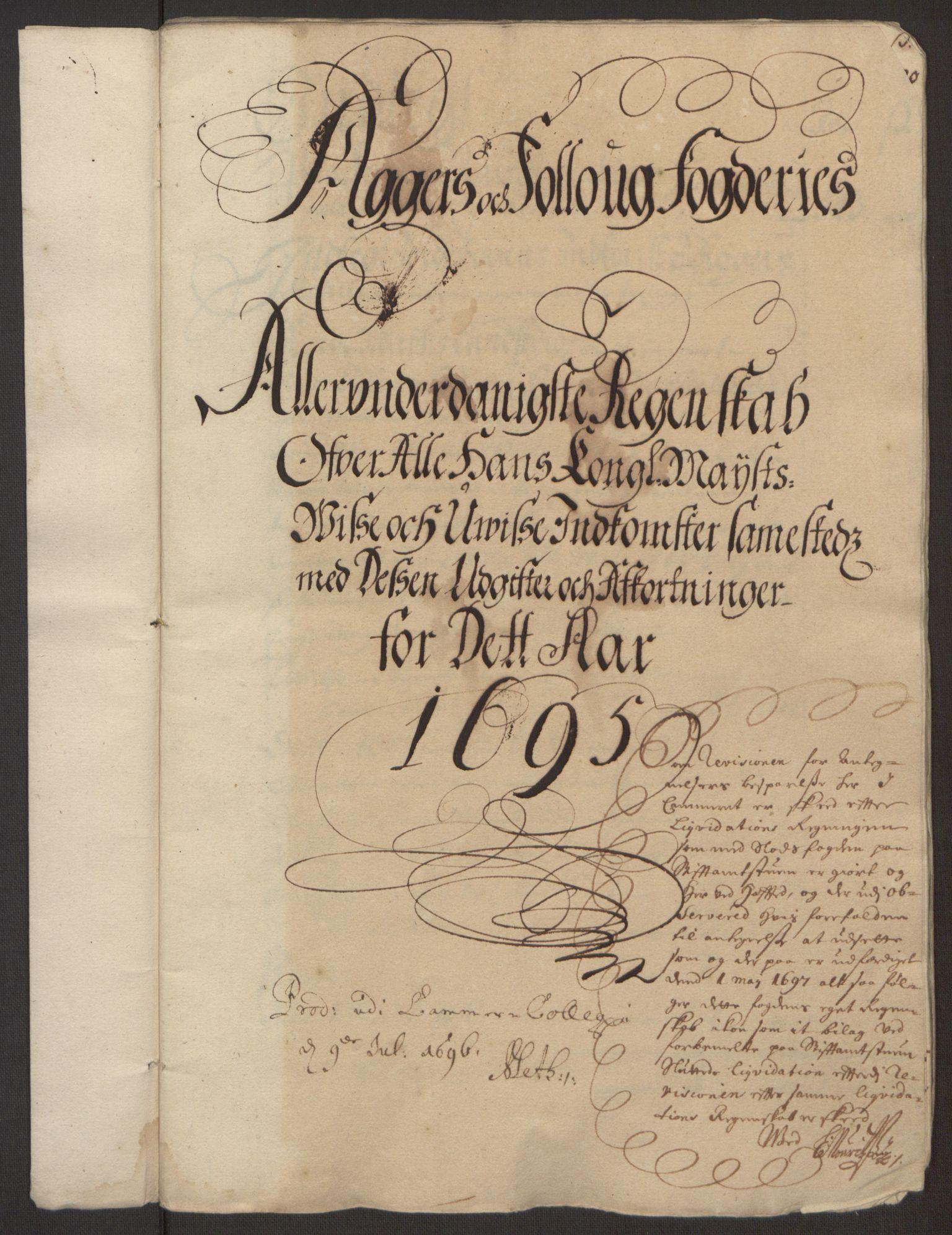 RA, Rentekammeret inntil 1814, Reviderte regnskaper, Fogderegnskap, R10/L0439: Fogderegnskap Aker og Follo, 1695, s. 2