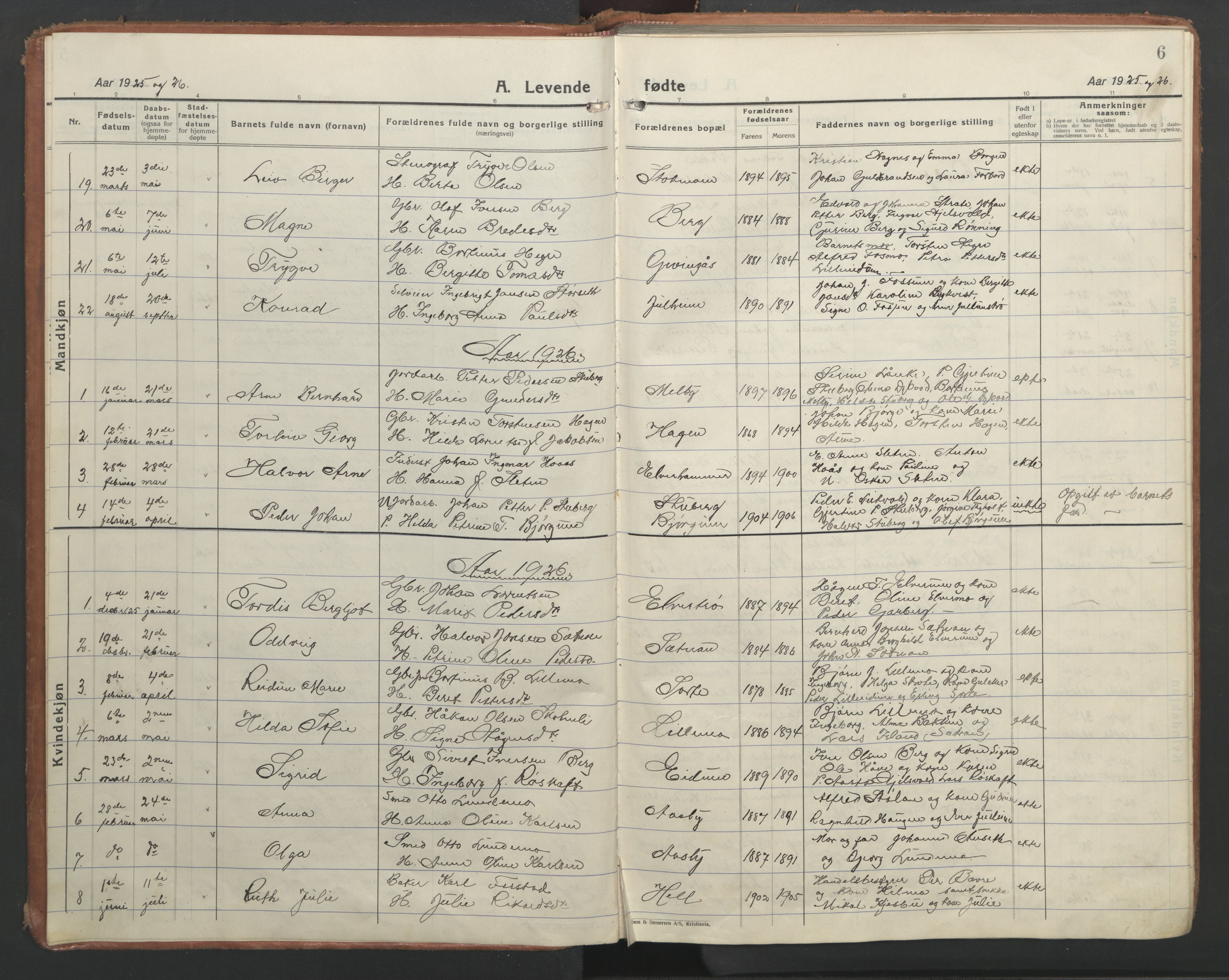 SAT, Ministerialprotokoller, klokkerbøker og fødselsregistre - Nord-Trøndelag, 710/L0097: Klokkerbok nr. 710C02, 1925-1955, s. 6