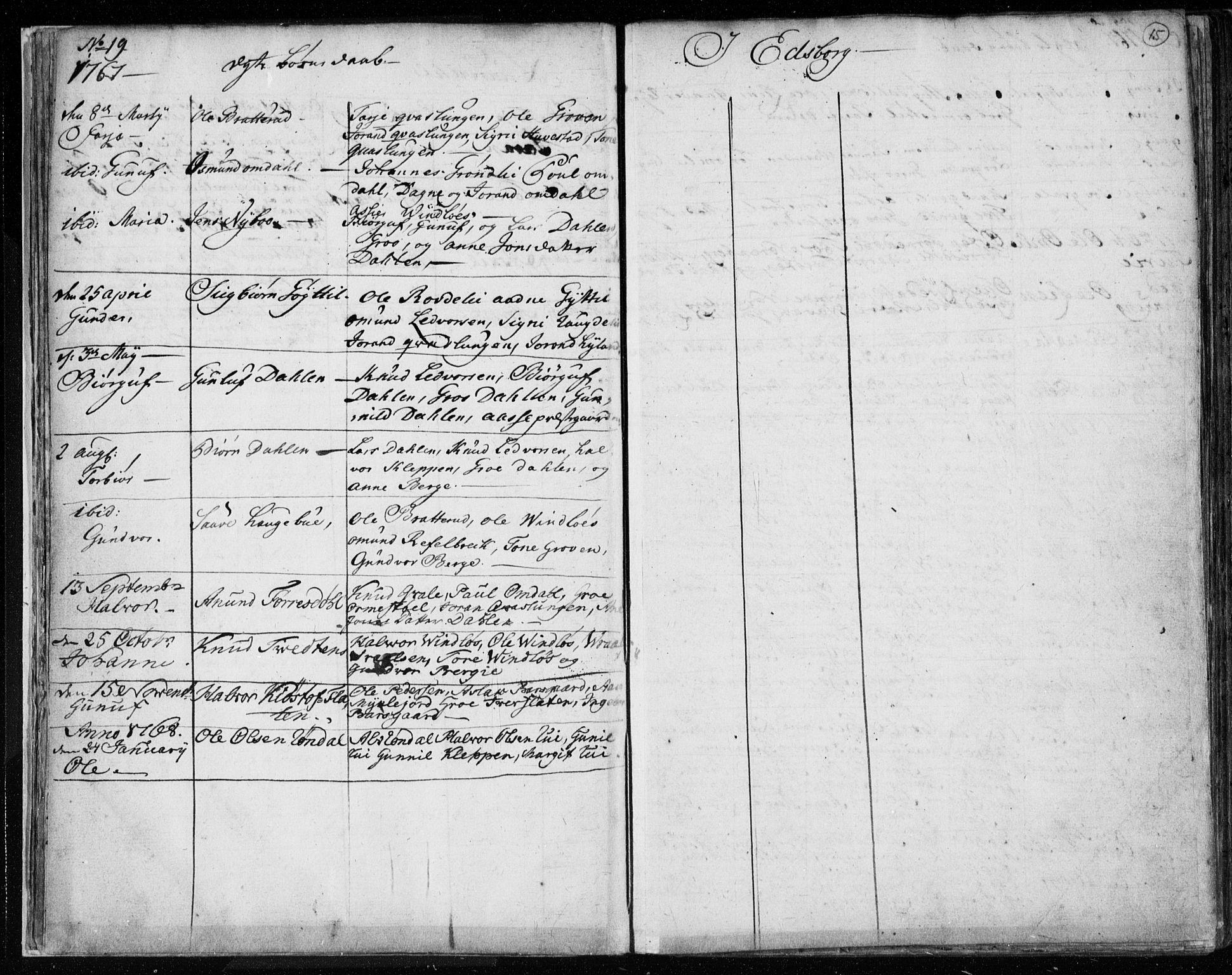 SAKO, Lårdal kirkebøker, F/Fa/L0003: Ministerialbok nr. I 3, 1754-1790, s. 15