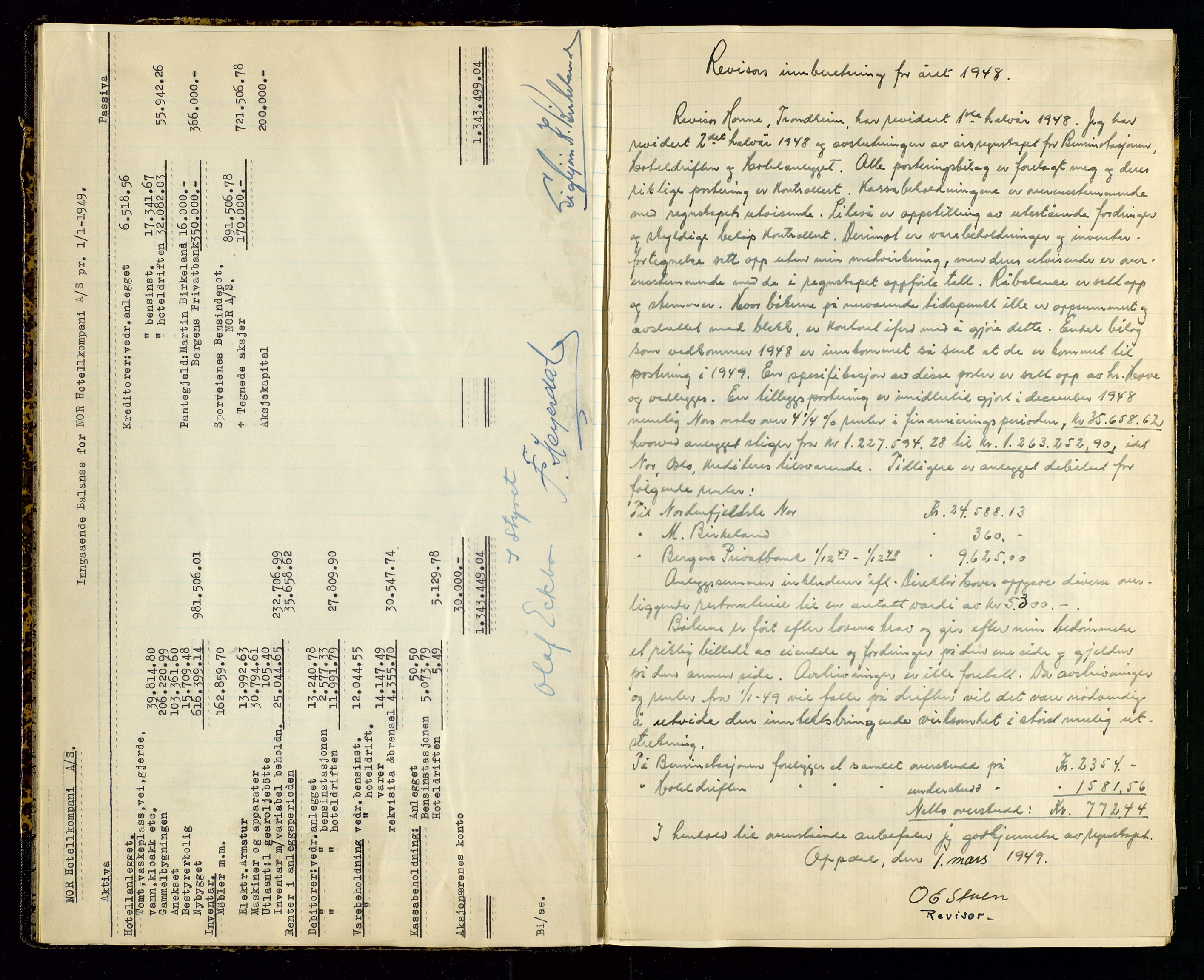 SAST, PA 1516 - Nor Hotellkompani A/S, A/L0001: Referatprotokoll, 1948-1855, s. 7