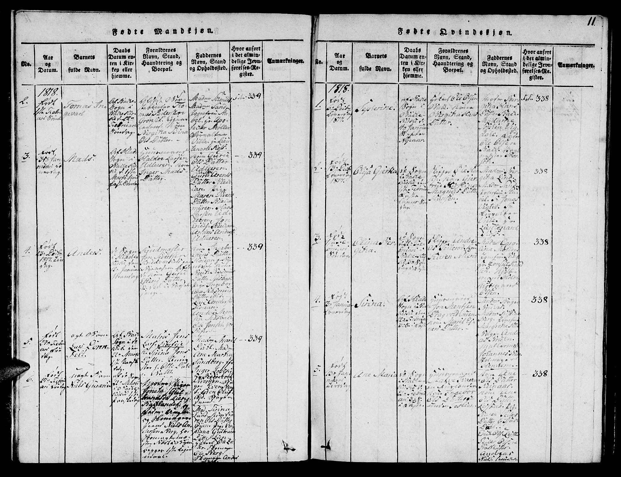 SAT, Ministerialprotokoller, klokkerbøker og fødselsregistre - Sør-Trøndelag, 606/L0307: Klokkerbok nr. 606C03, 1817-1824, s. 11